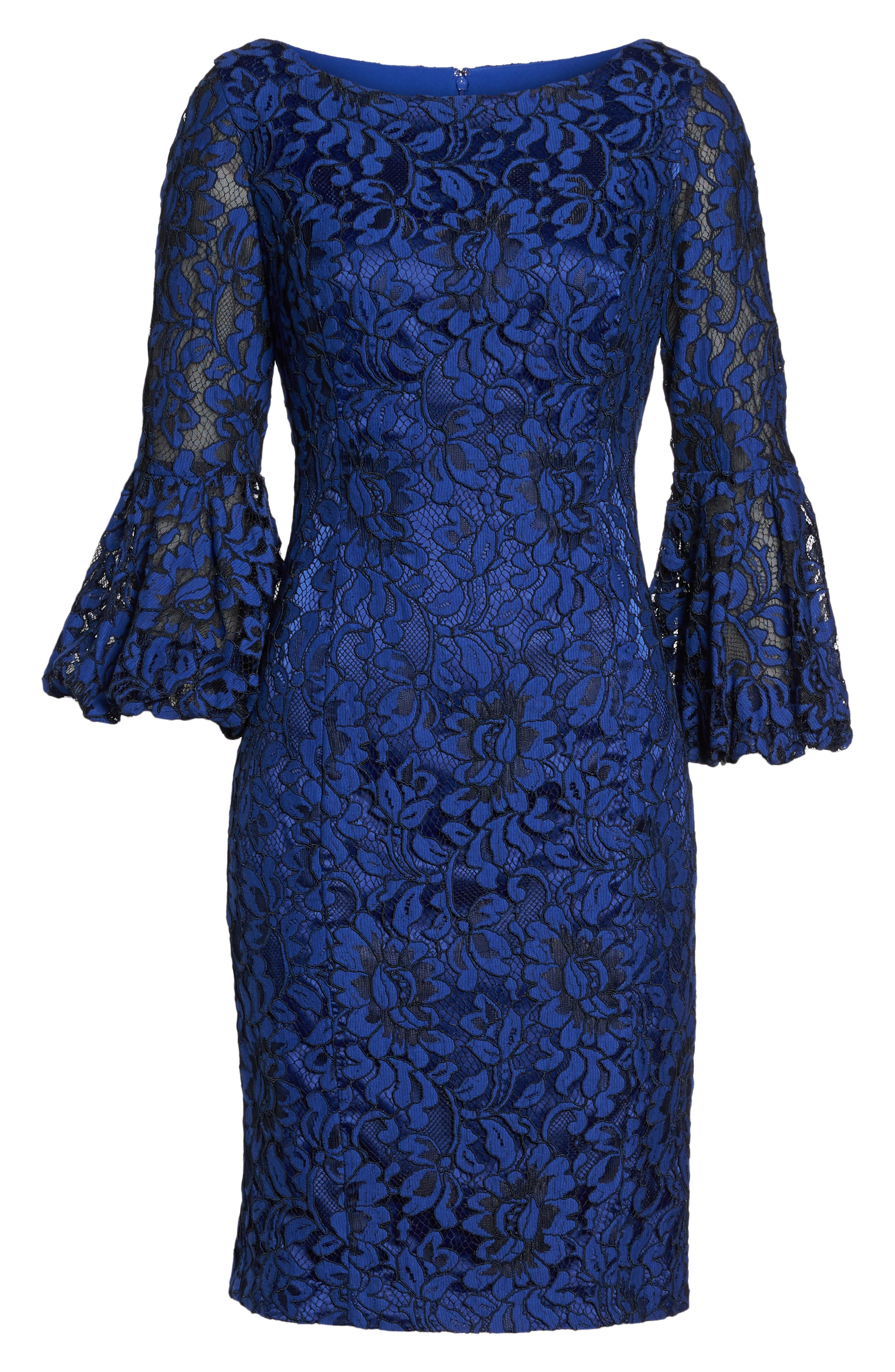 Bell Sleeve Lace Sheath Dress,                             Alternate thumbnail 6, color,