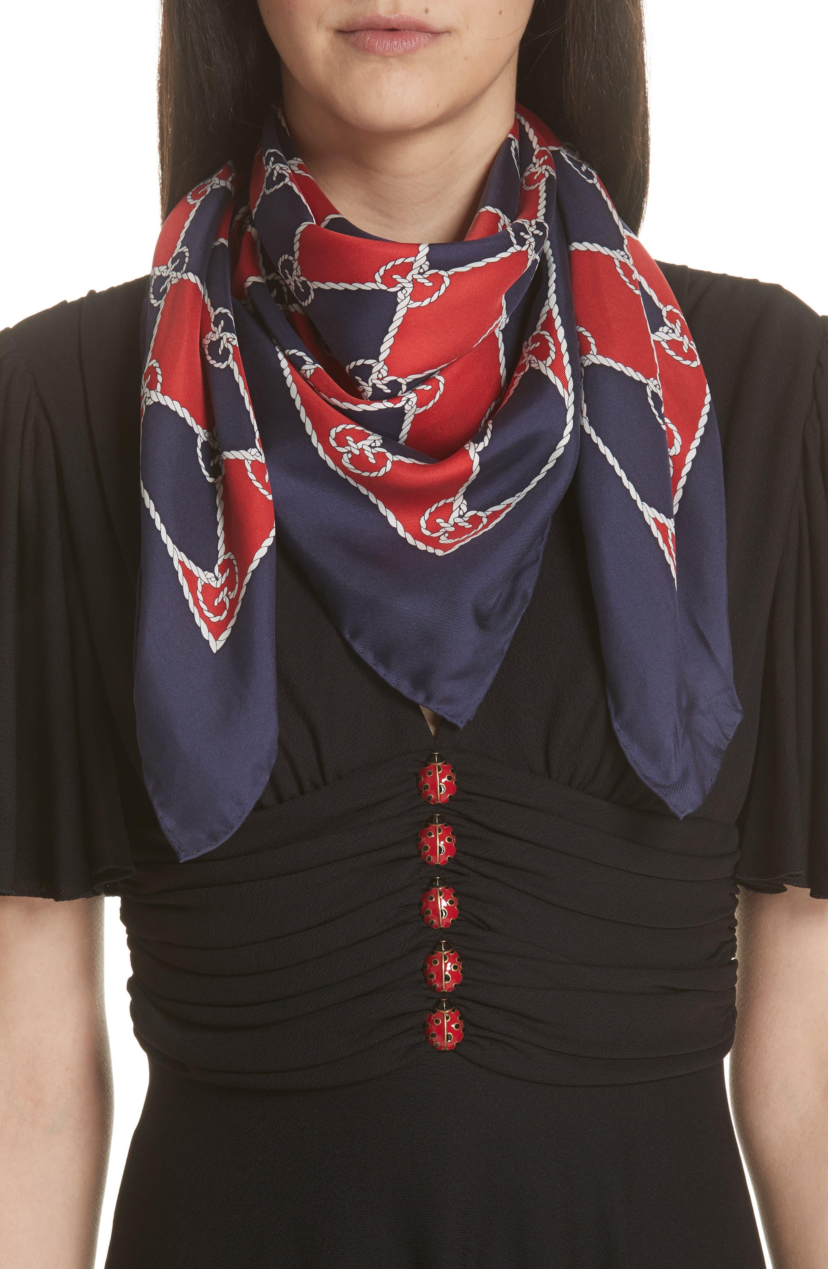 Rhombus Chane Square Foulard Silk Scarf,                             Alternate thumbnail 2, color,                             RED