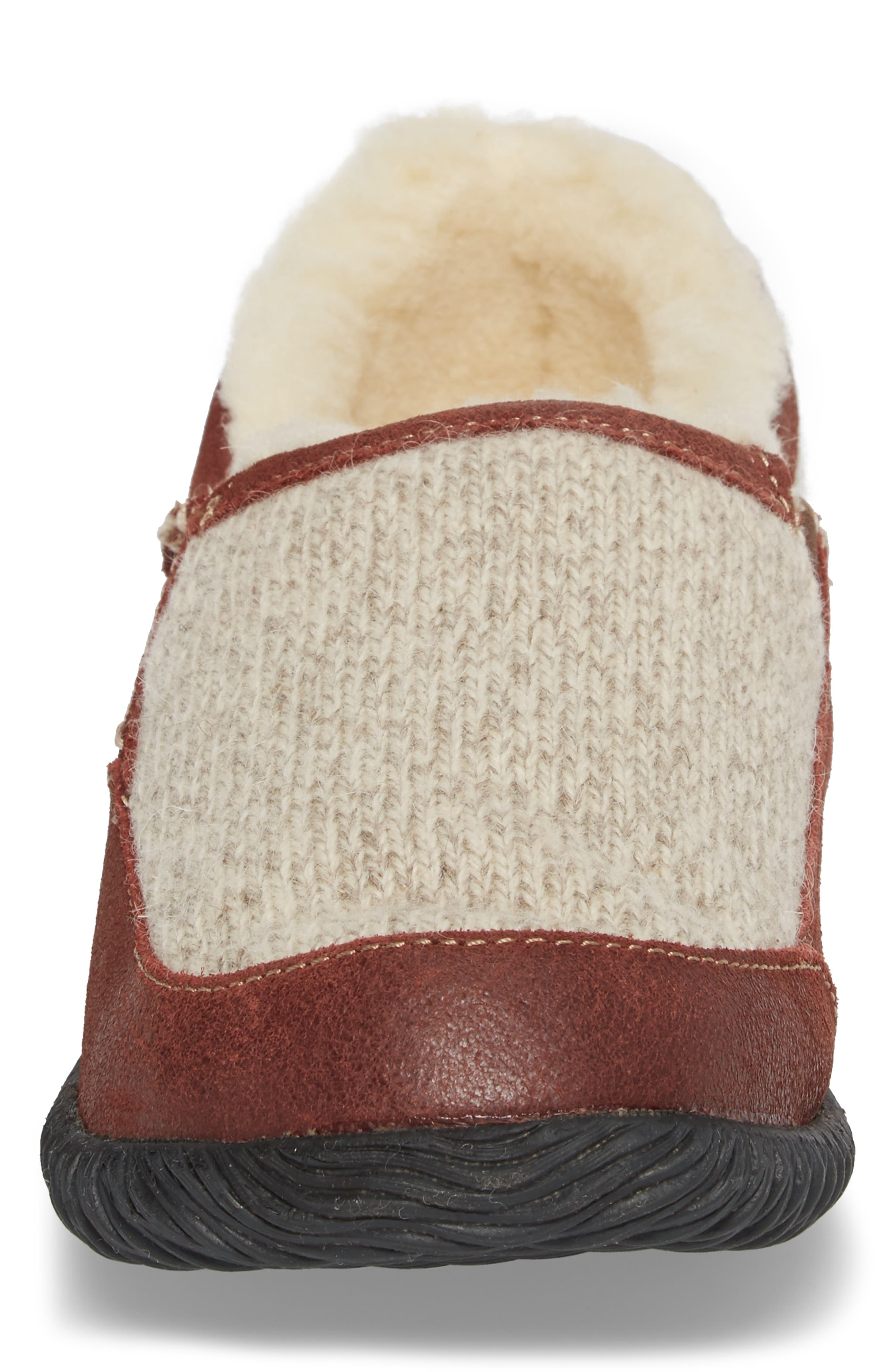 'Rambler' Moc Toe Slipper,                             Alternate thumbnail 4, color,                             GREY RAGG WOOL