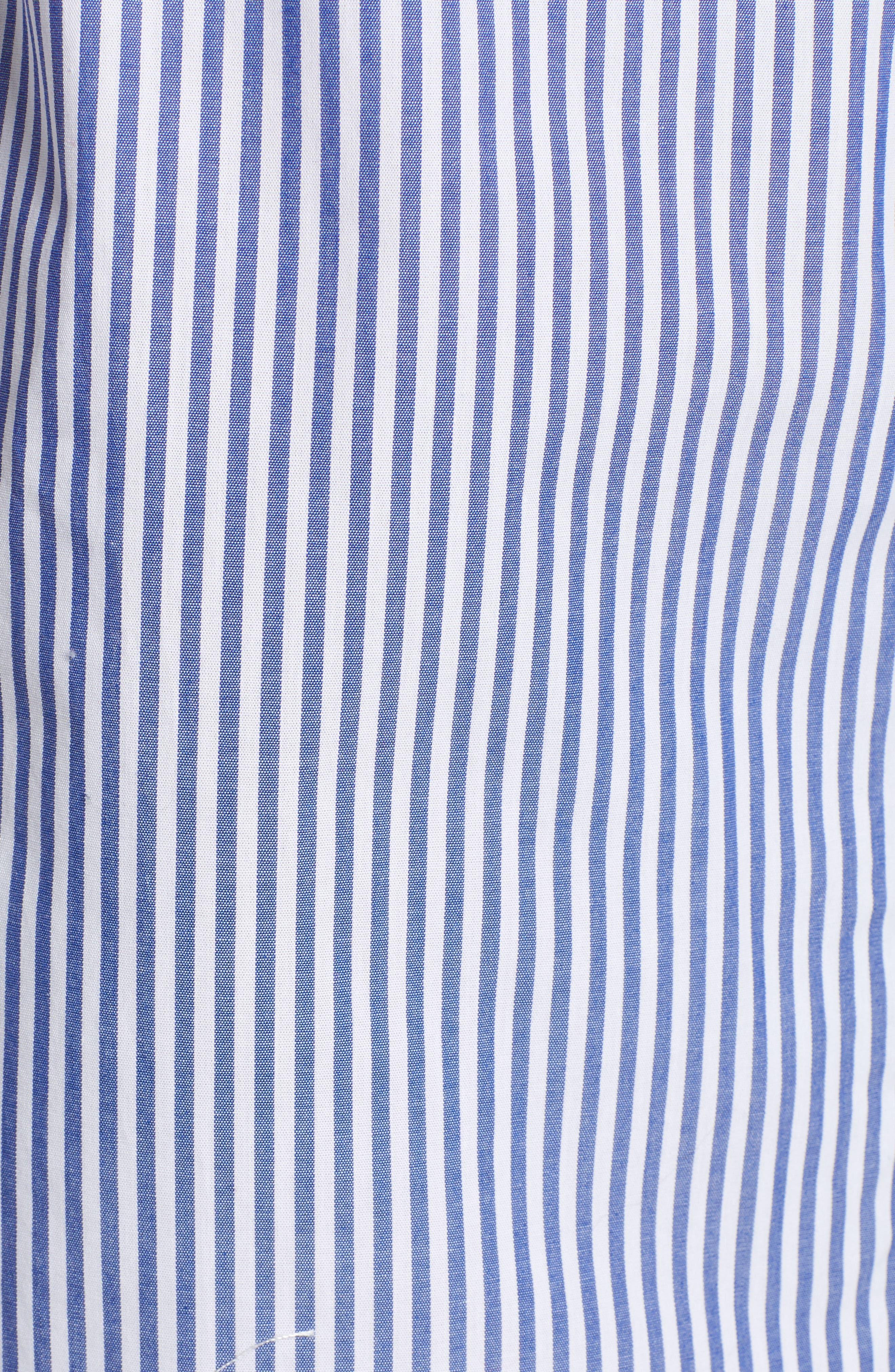 Stripe Off-the-shoulder Poplin Shirtdress,                             Alternate thumbnail 6, color,                             400