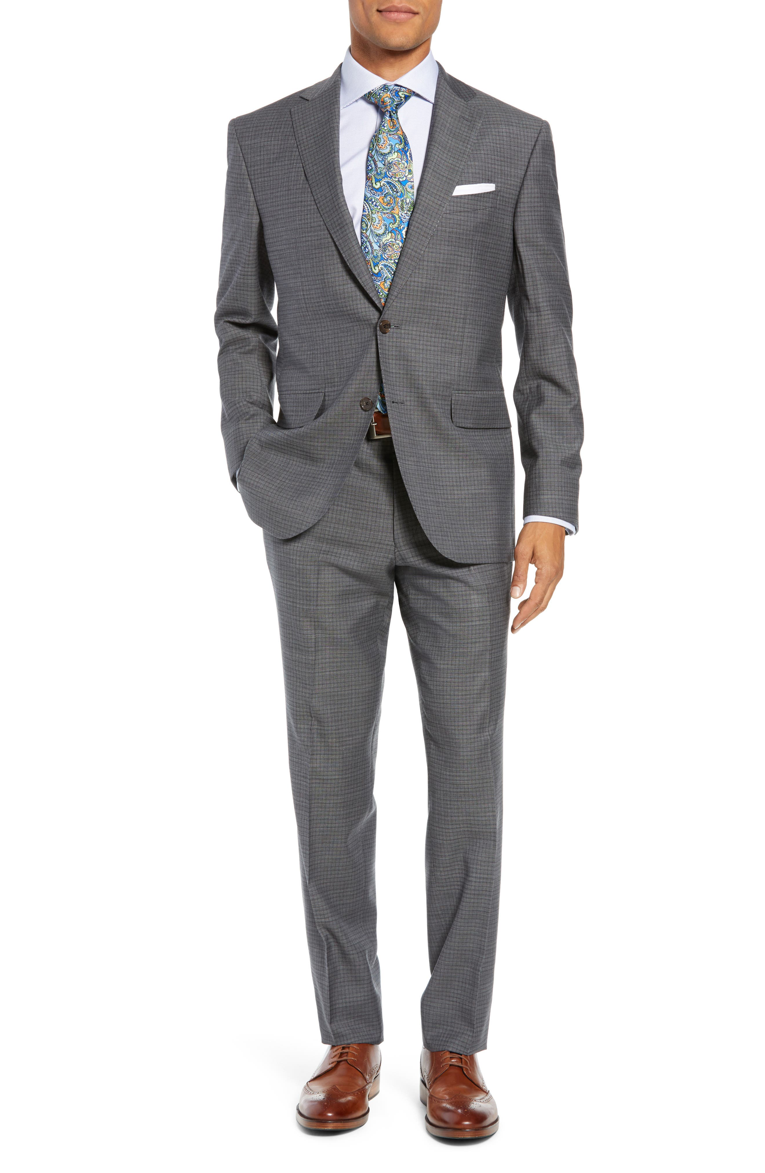 Ryan Classic Fit Stretch Check Wool Suit,                             Main thumbnail 1, color,                             CHARCOAL
