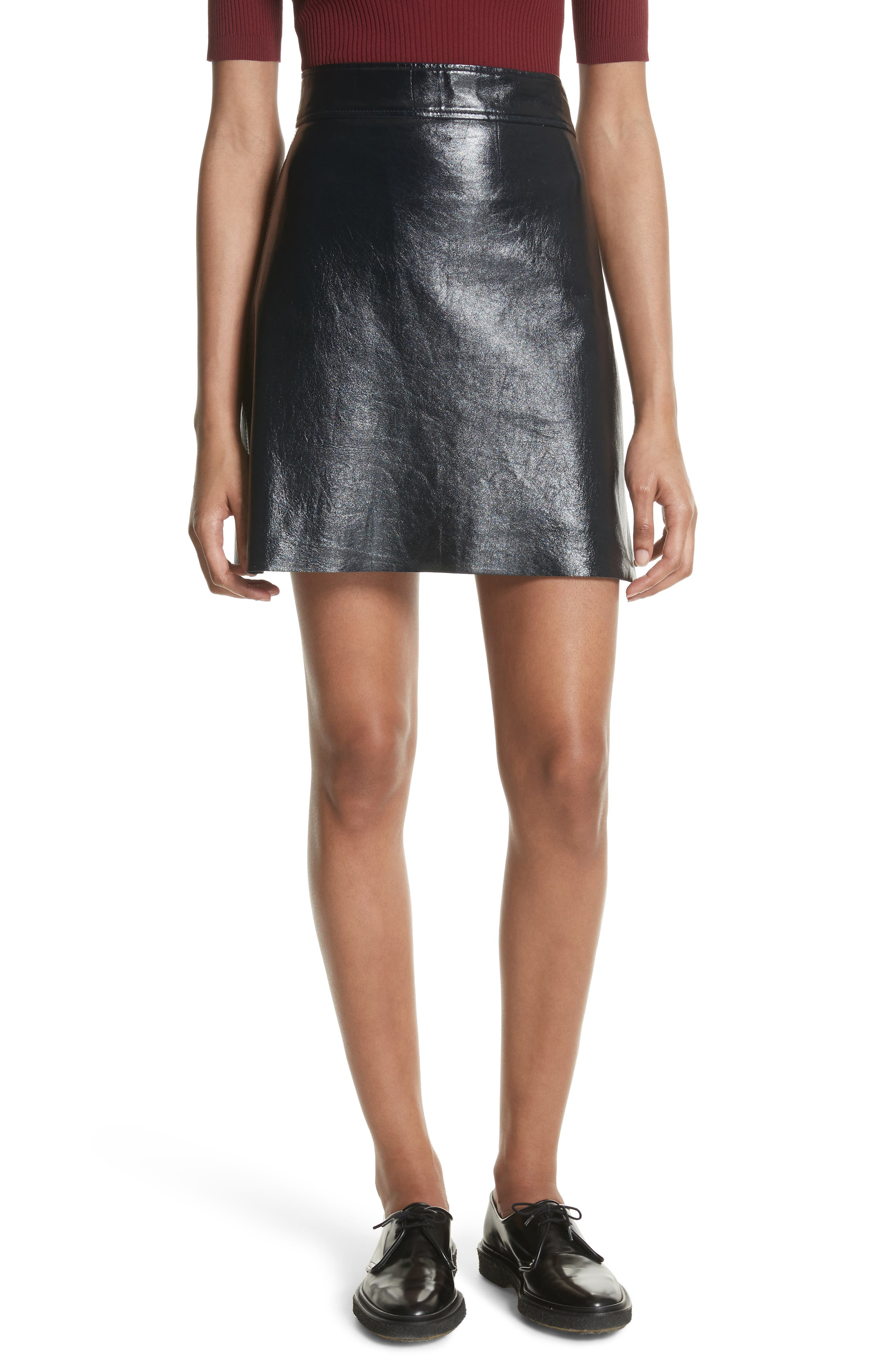 Crinkled Patent Leather Miniskirt,                             Main thumbnail 1, color,