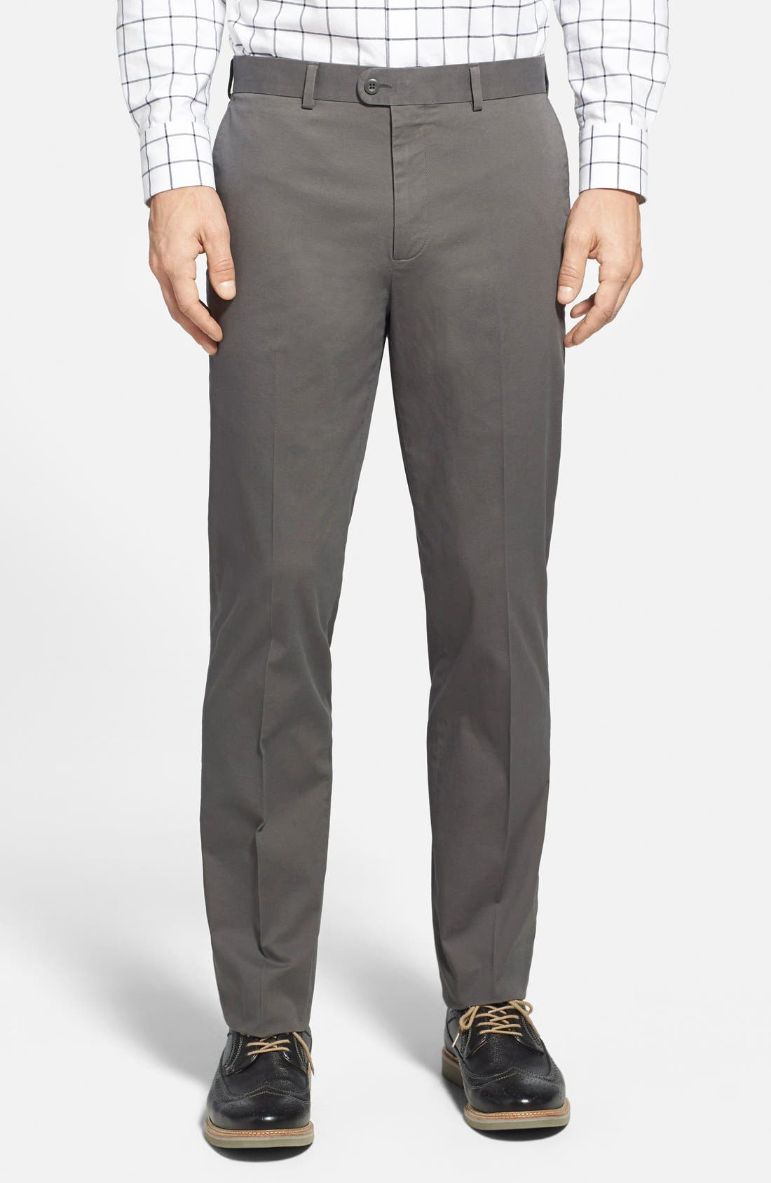 Washed Trim Fit Stretch Cotton Trousers,                         Main,                         color, 020