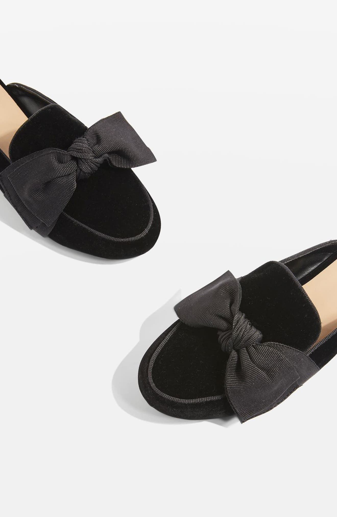 Luna Bow Detail Backless Loafers,                             Main thumbnail 1, color,                             001