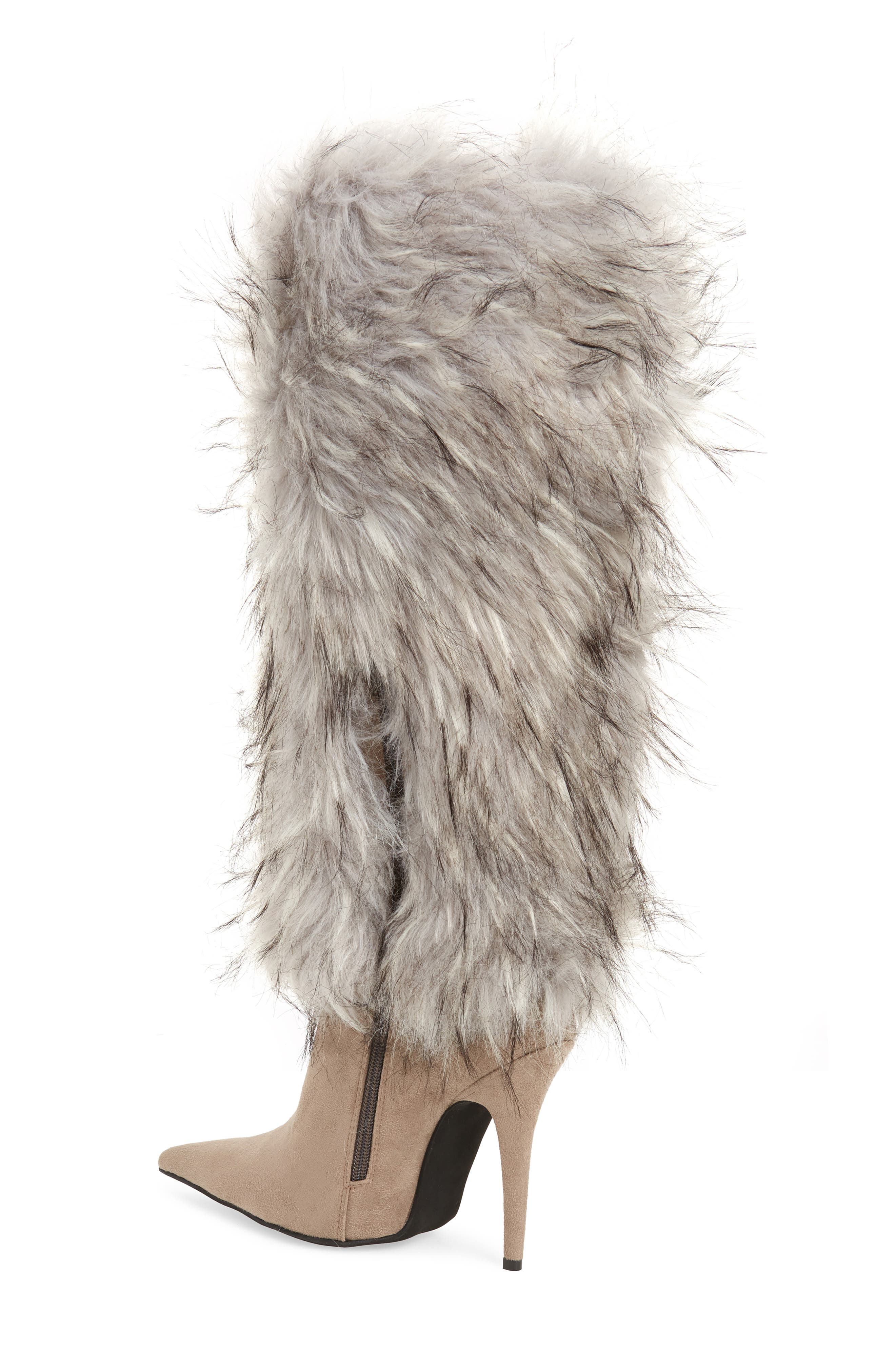 Vedet Faux Fur Knee High Boot,                             Alternate thumbnail 2, color,                             DARK TAUPE SUEDE
