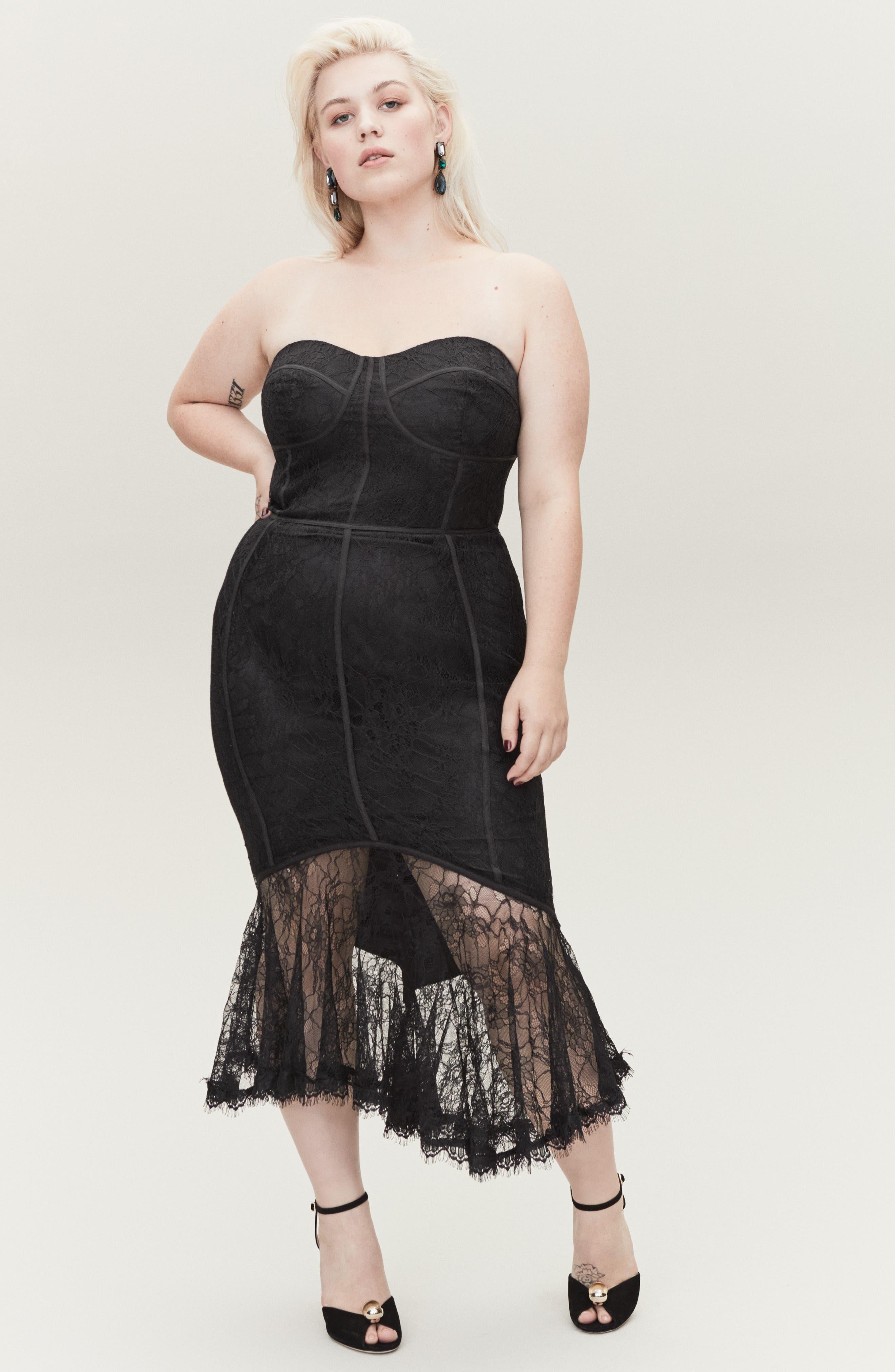 So Seductive Ruffle Hem Lace Body-Con Dress,                             Alternate thumbnail 6, color,                             BLACK