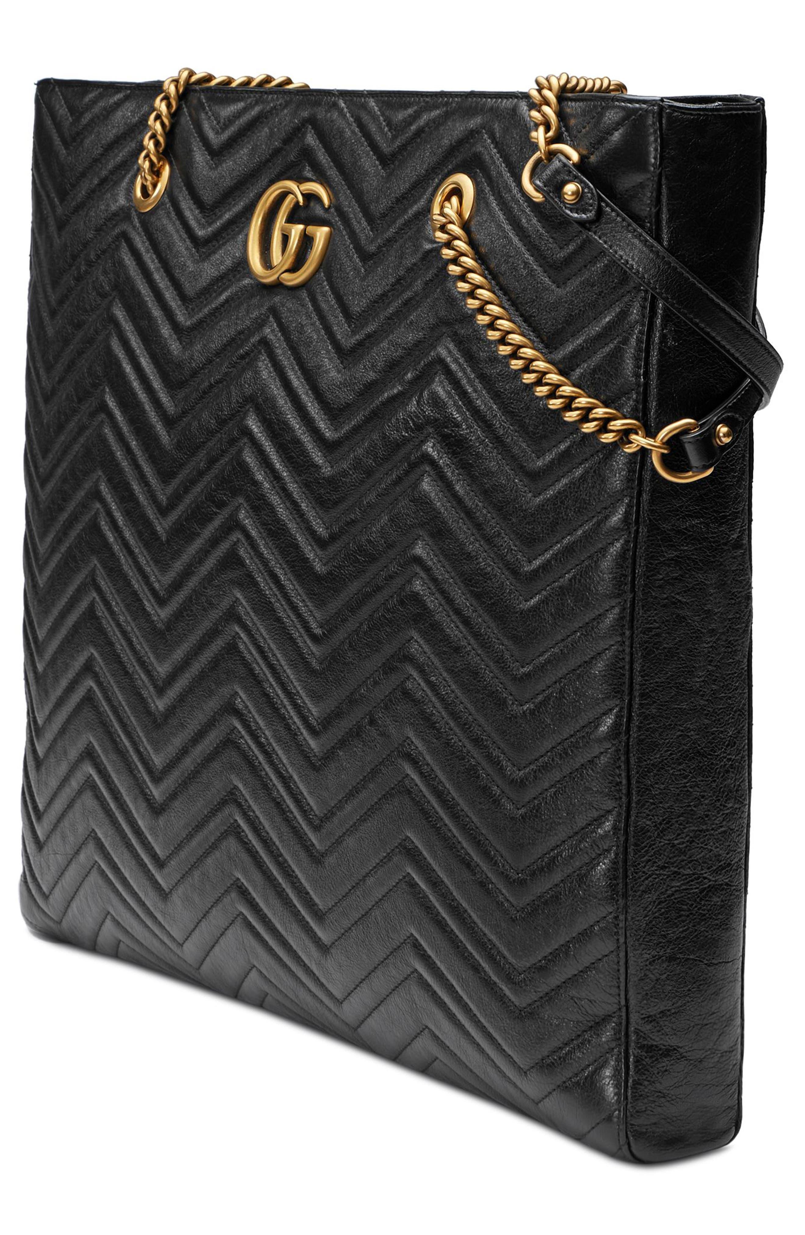 GG Marmont 2.0 Matelassé Leather North/South Tote Bag,                             Alternate thumbnail 4, color,                             NERO/ NERO