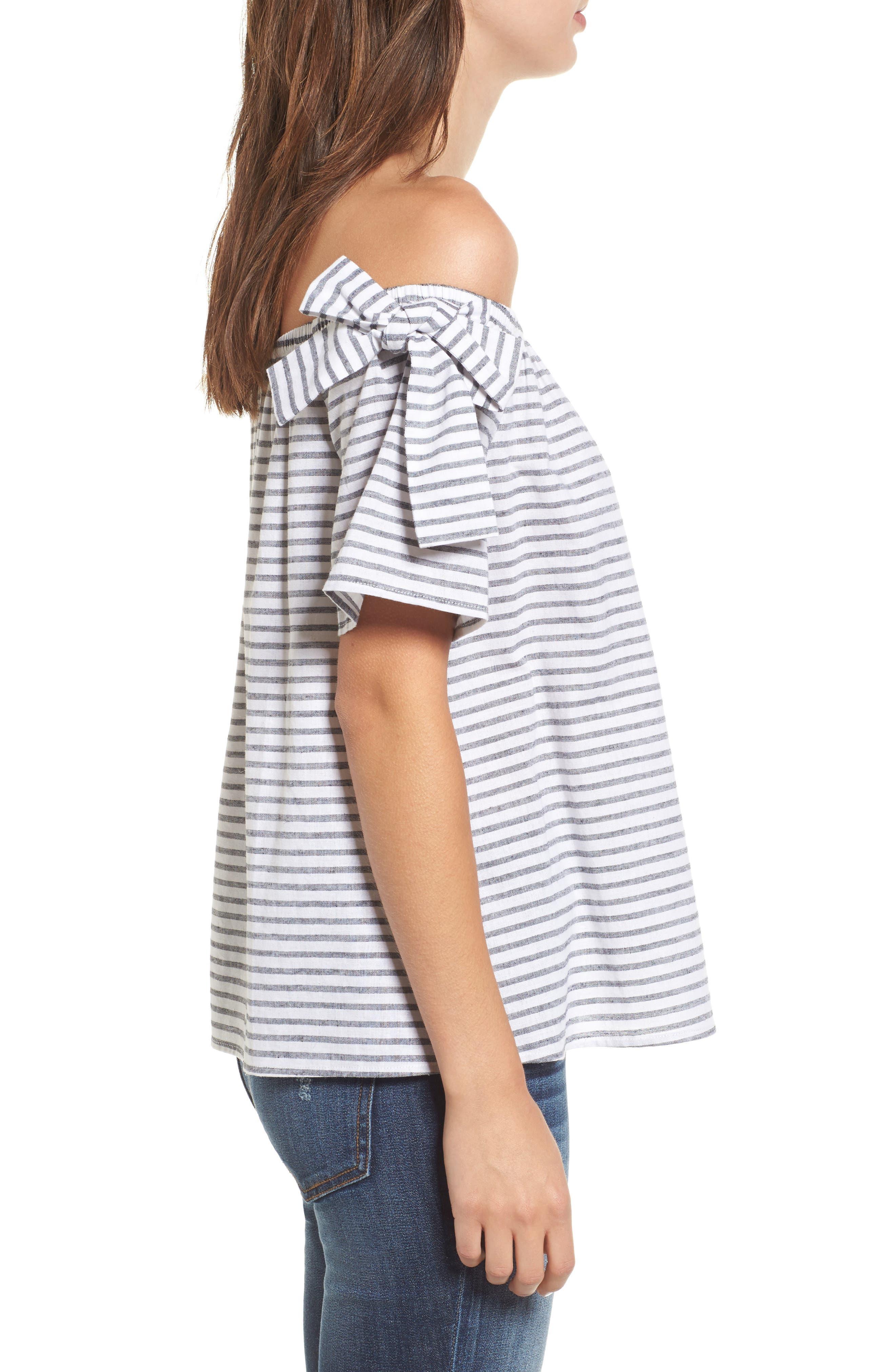 Stripe Cotton & Linen Off the Shoulder Top,                             Alternate thumbnail 3, color,                             001