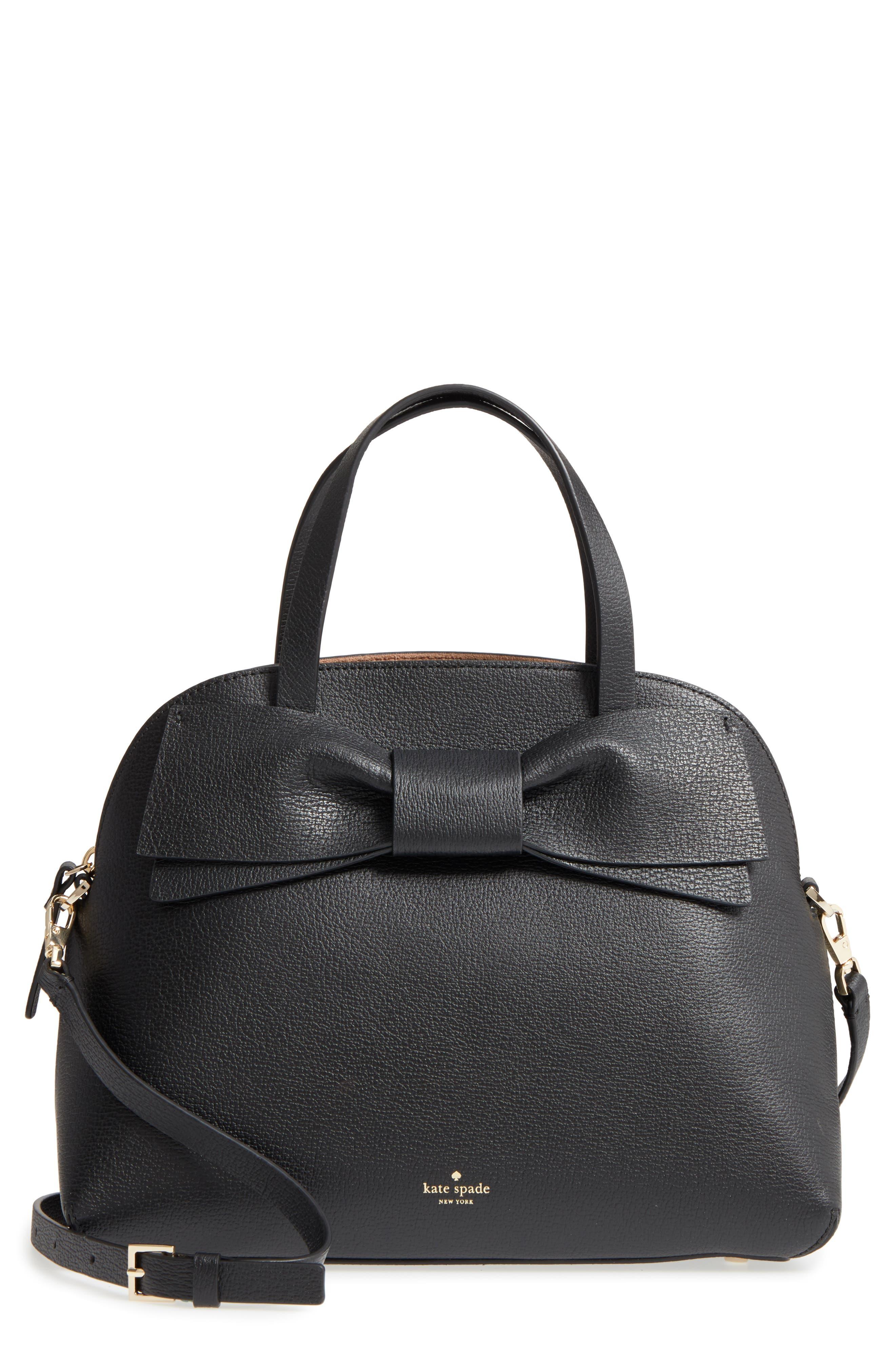 KATE SPADE NEW YORK olive drive lottie leather satchel, Main, color, 001
