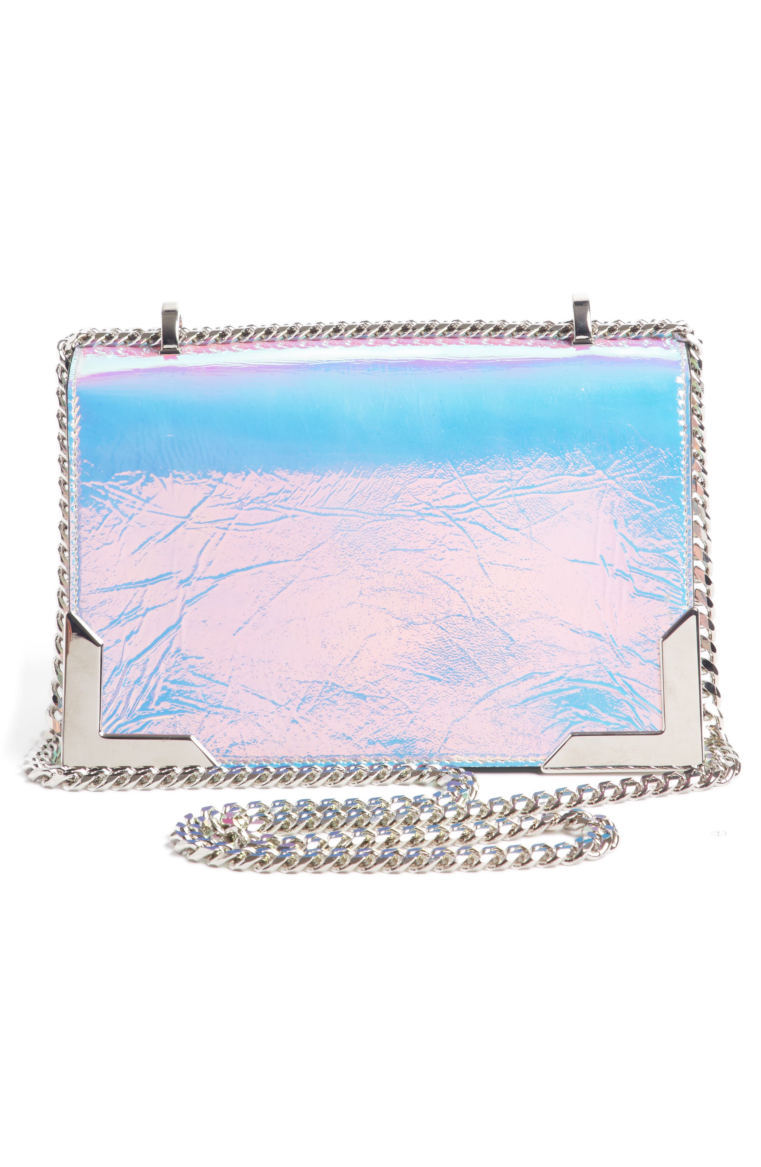 BALMAIN,                             Baby Box Holographic Leather Shoulder Bag,                             Alternate thumbnail 3, color,                             650