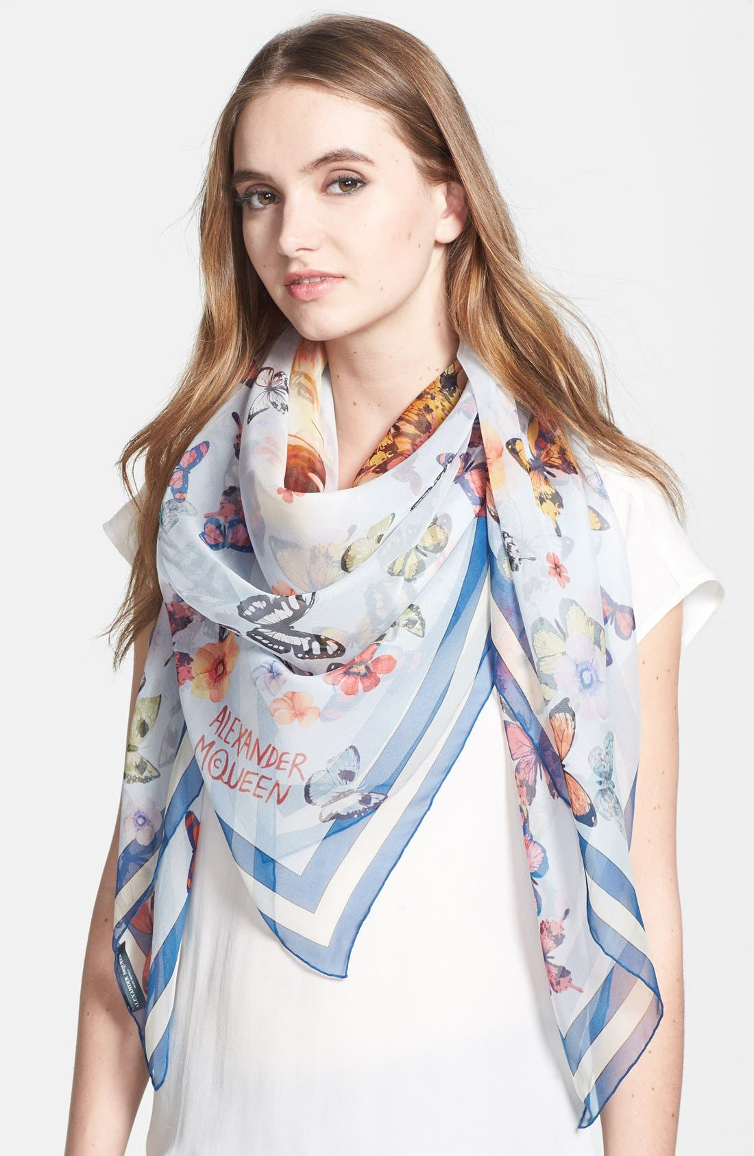 'Lion and Butterfly' Silk Chiffon Scarf, Main, color, 486