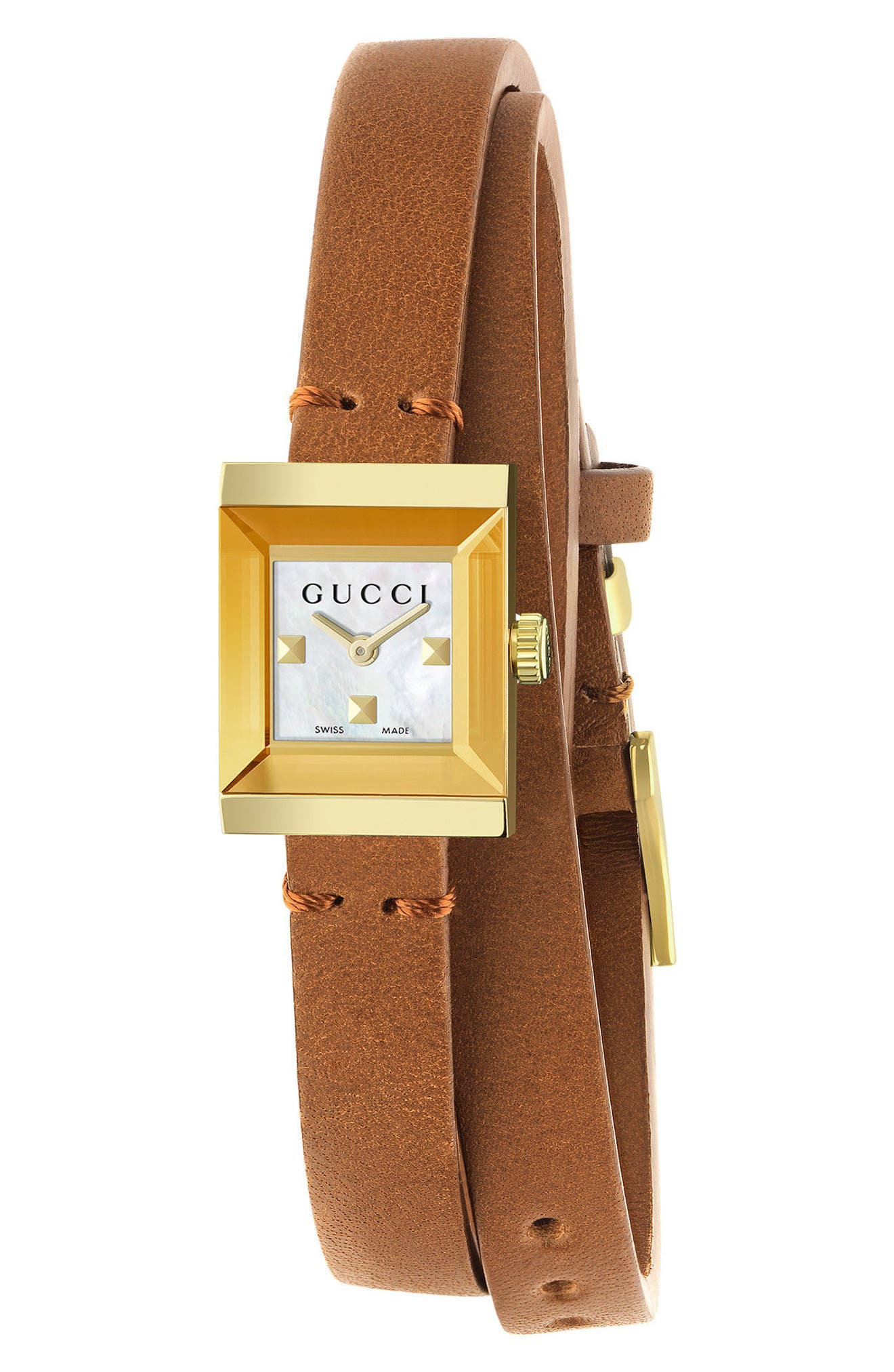 G-Frame Leather Wrap Strap Watch, 14mm x 18mm,                         Main,                         color, BROWN/ WHITE/ GOLD