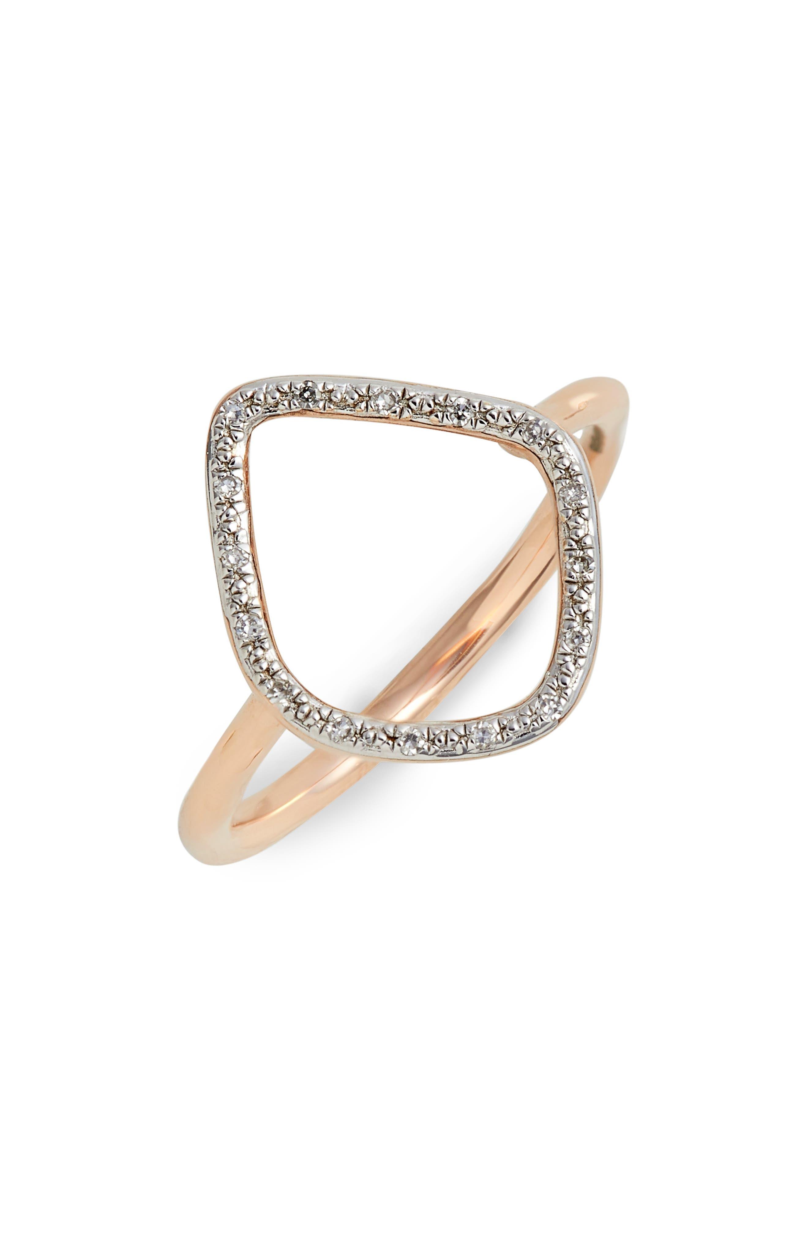 'Riva' Diamond Hoop Ring,                             Alternate thumbnail 2, color,                             ROSE GOLD