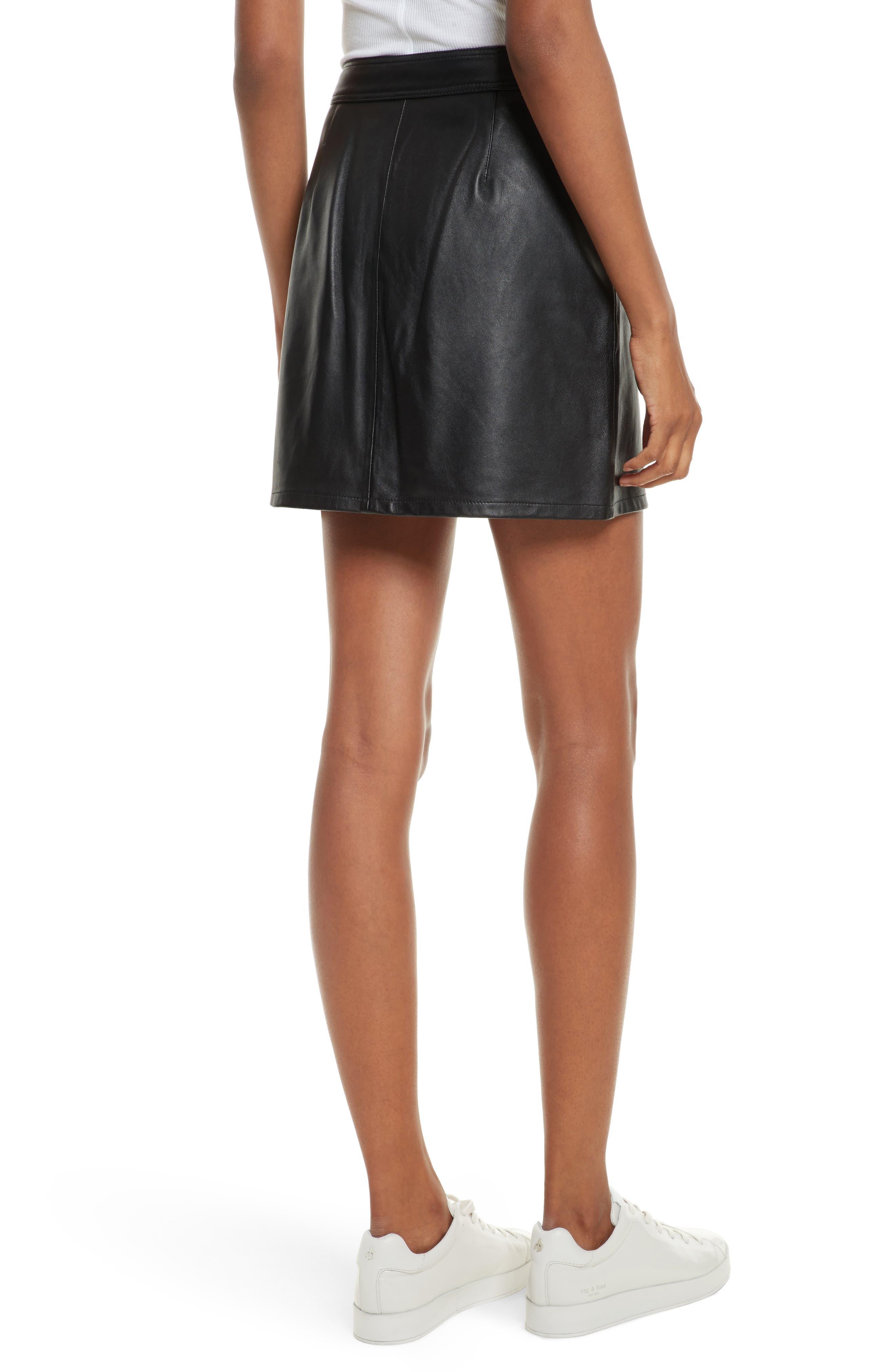 Racer Leather Miniskirt,                             Alternate thumbnail 2, color,                             002