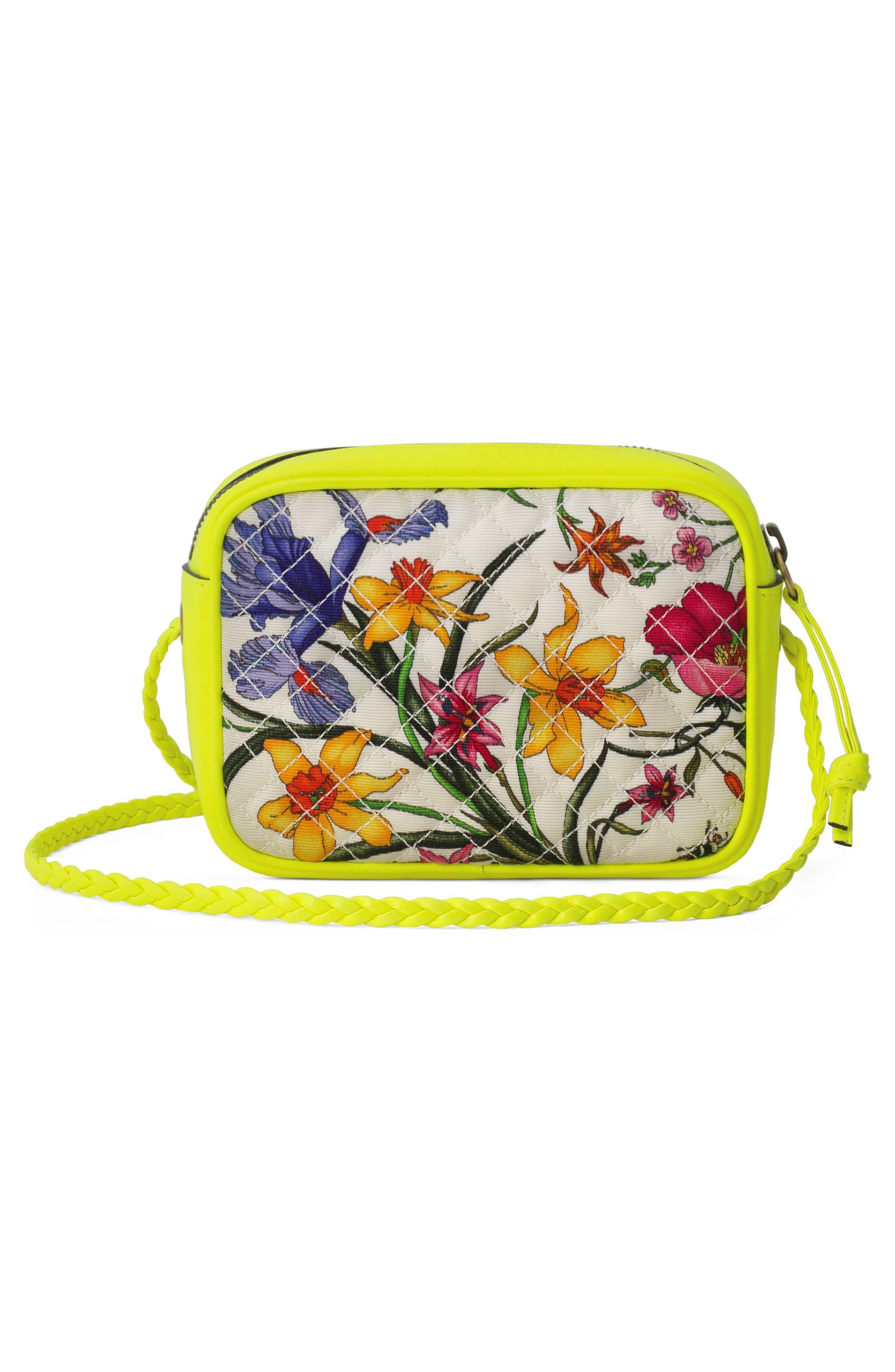 GUCCI,                             Flora Print Mini Crossbody Bag,                             Alternate thumbnail 2, color,                             705