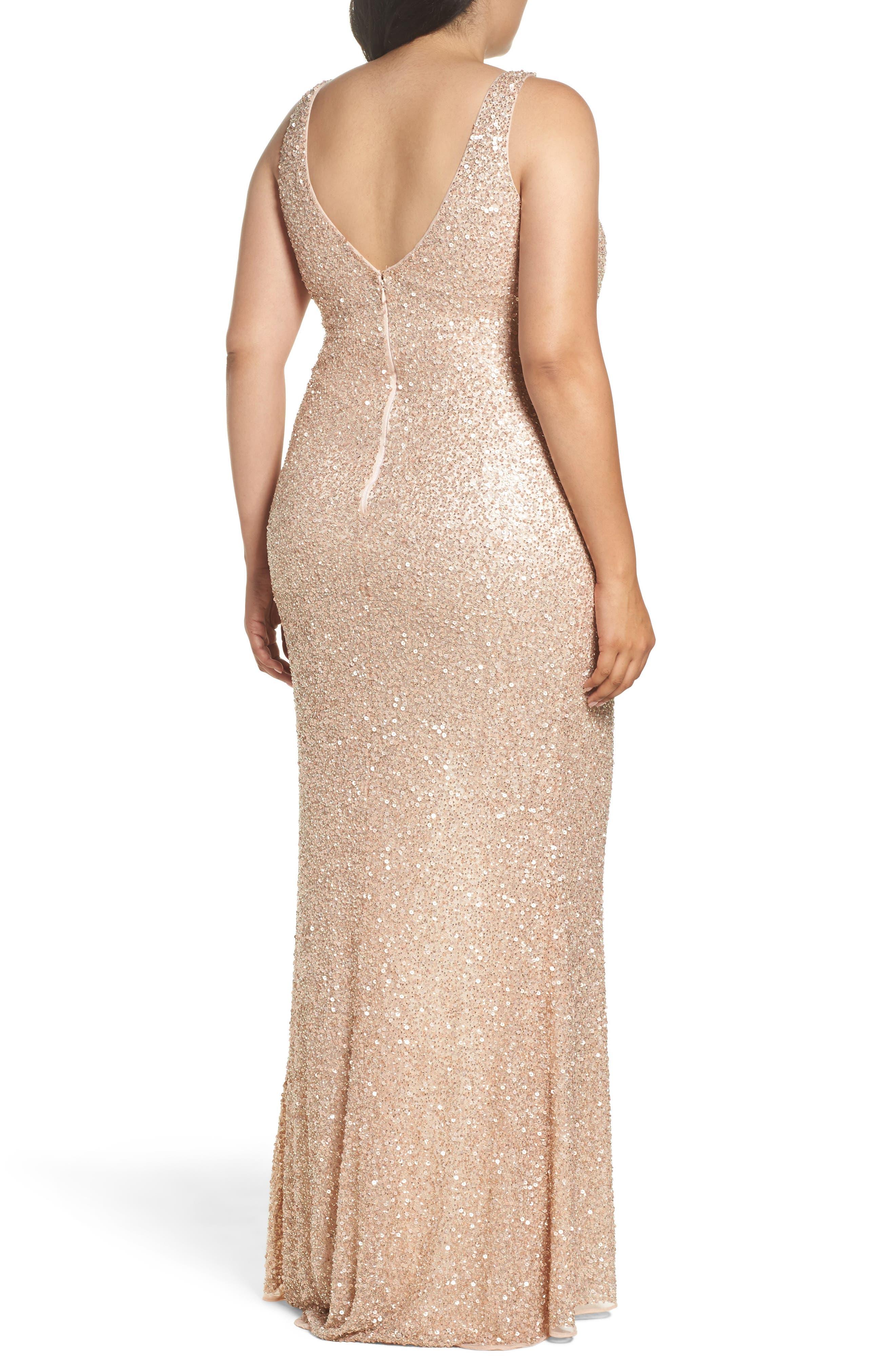 Front Slit Sequin Gown,                             Alternate thumbnail 4, color,