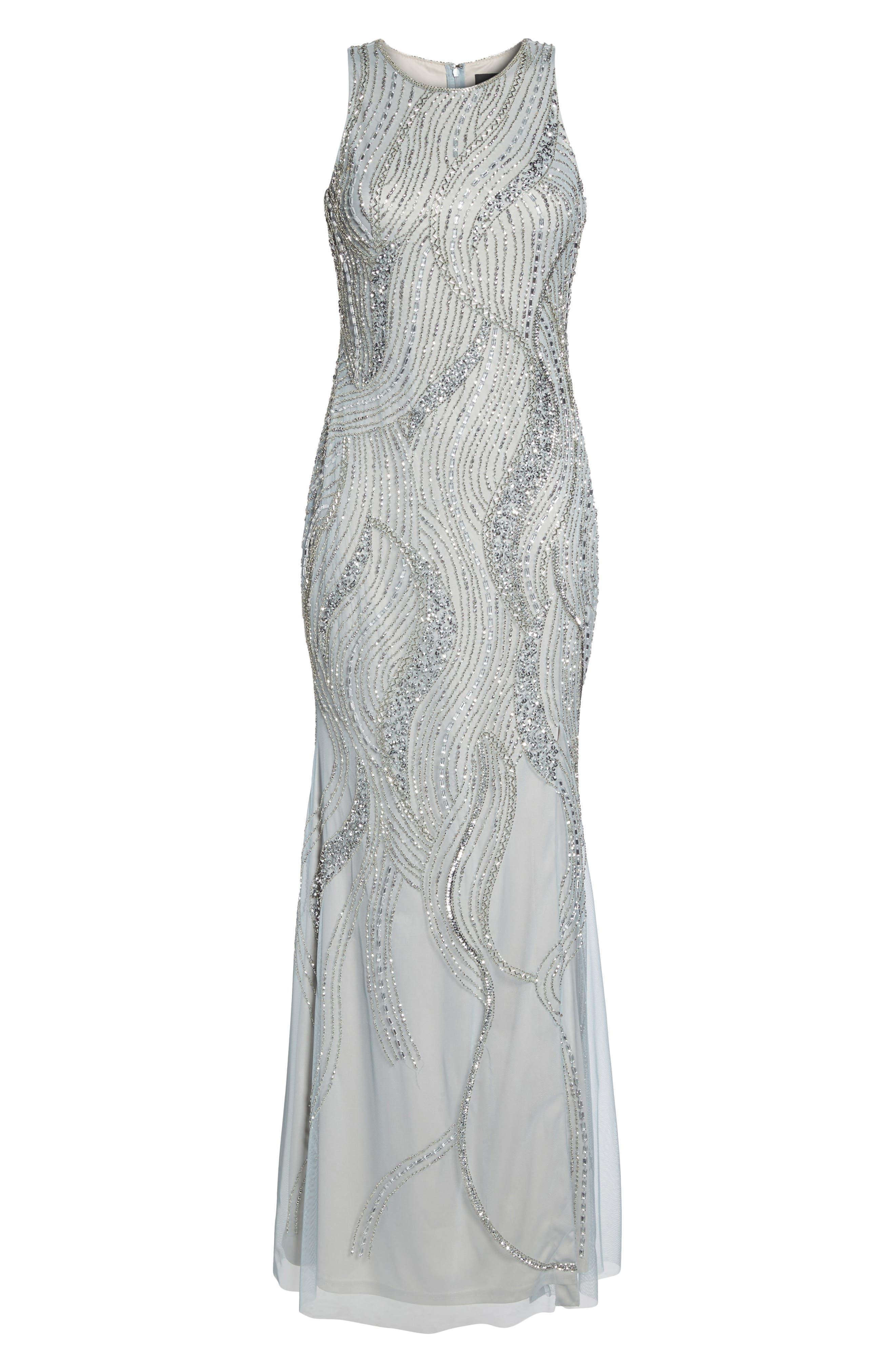 Swirl Beaded Long Dress,                             Alternate thumbnail 6, color,                             040