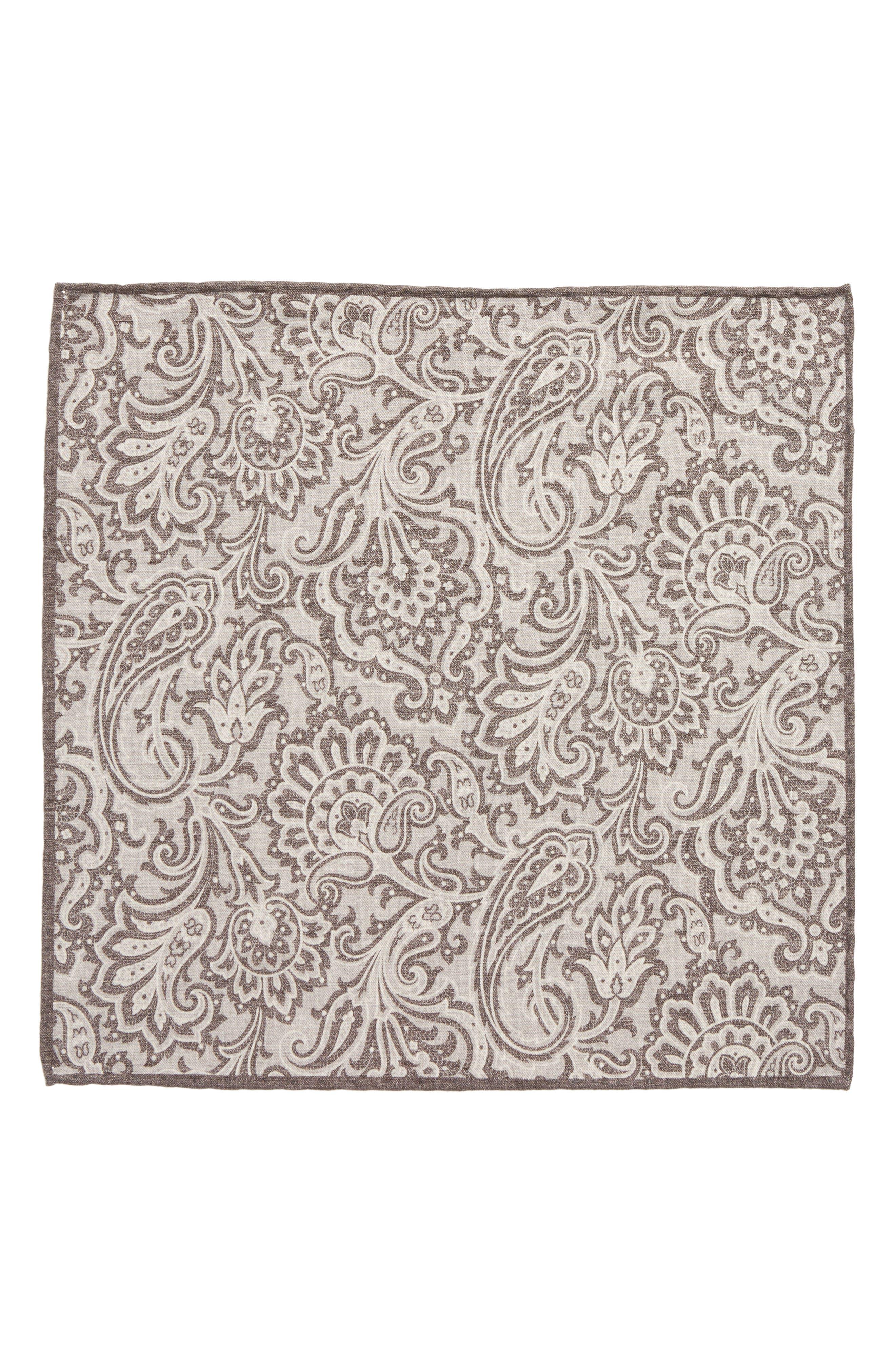 Paisley Wool & Cotton Pocket Square,                             Alternate thumbnail 2, color,                             GREY