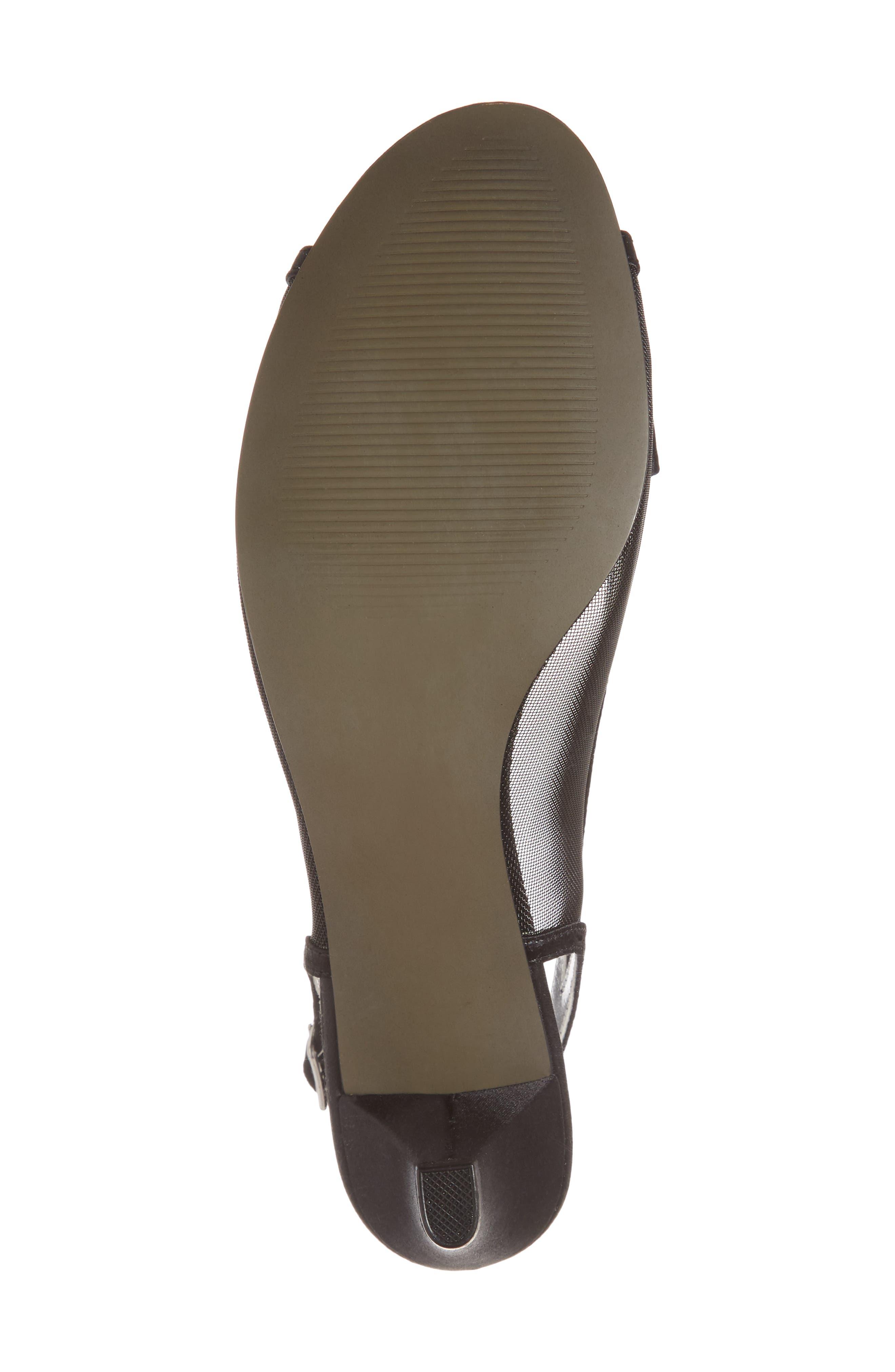 Foxy Slingback Sandal,                             Alternate thumbnail 6, color,                             BLACK SATIN