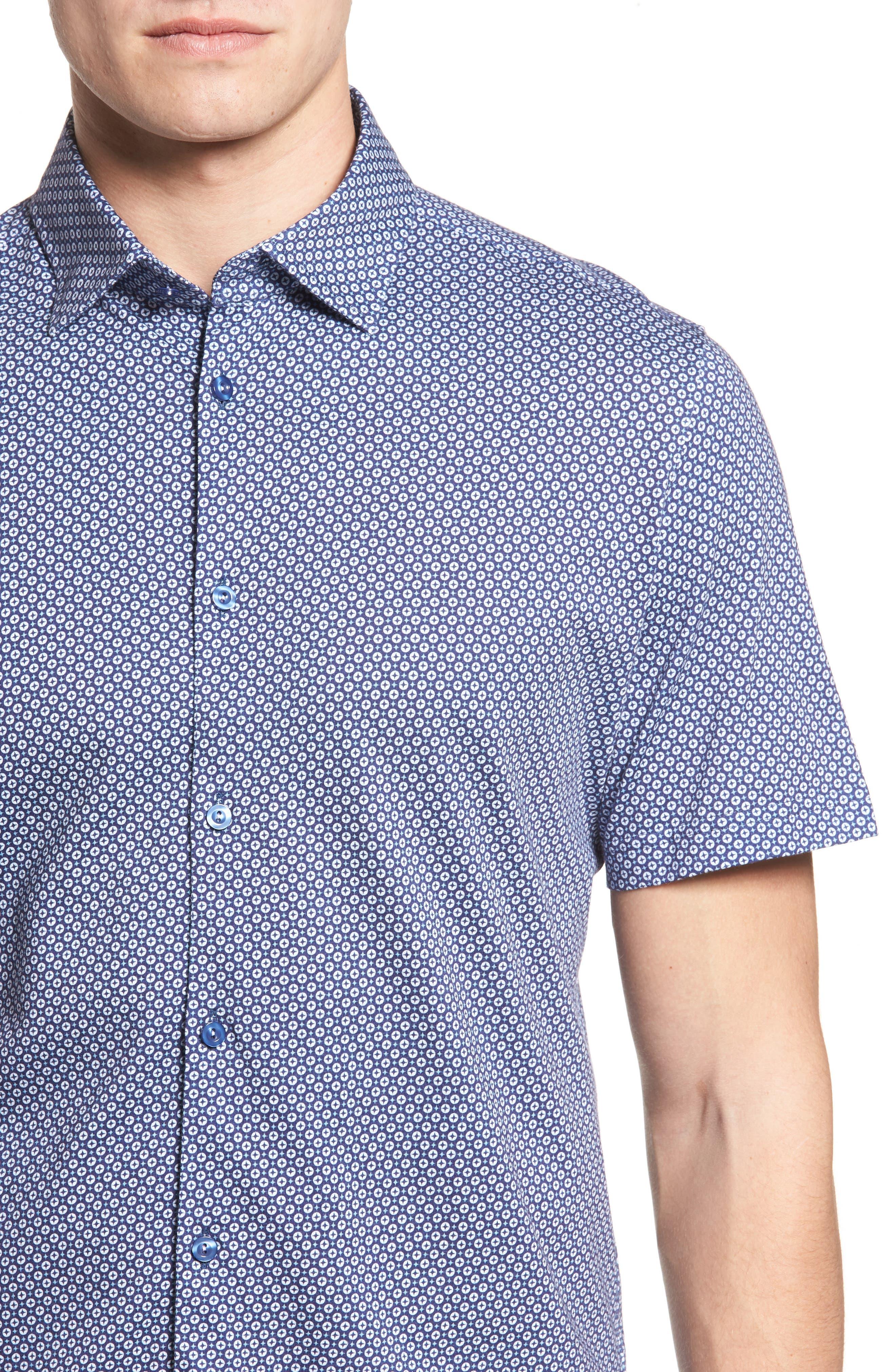 Slim Fit Geo Print Knit Sport Shirt,                             Alternate thumbnail 4, color,
