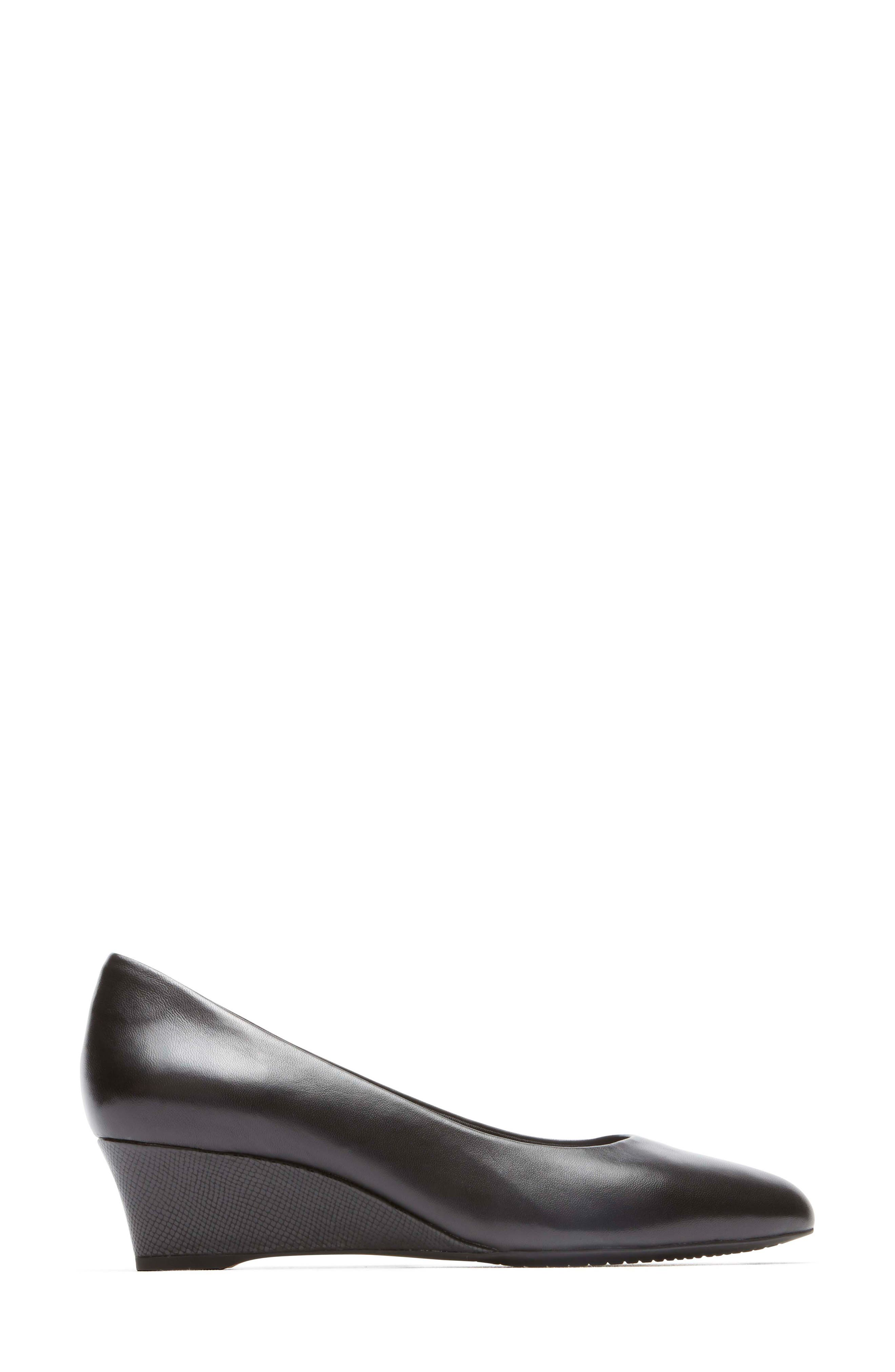 Total Motion Catrin Wedge Pump,                             Alternate thumbnail 3, color,                             BLACK LEATHER