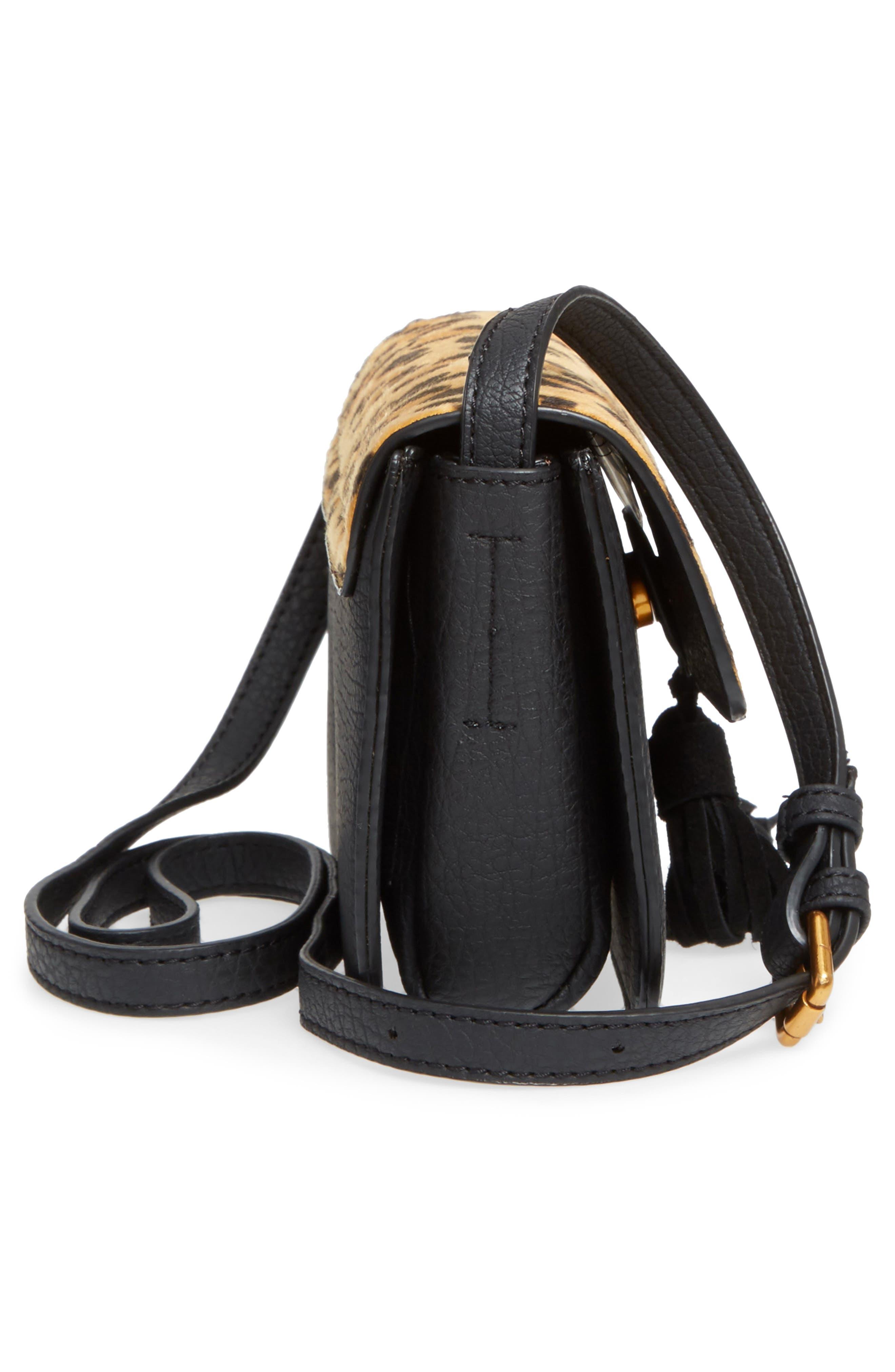 Snake Embossed Faux Leather Crossbody Bag,                             Alternate thumbnail 5, color,                             001