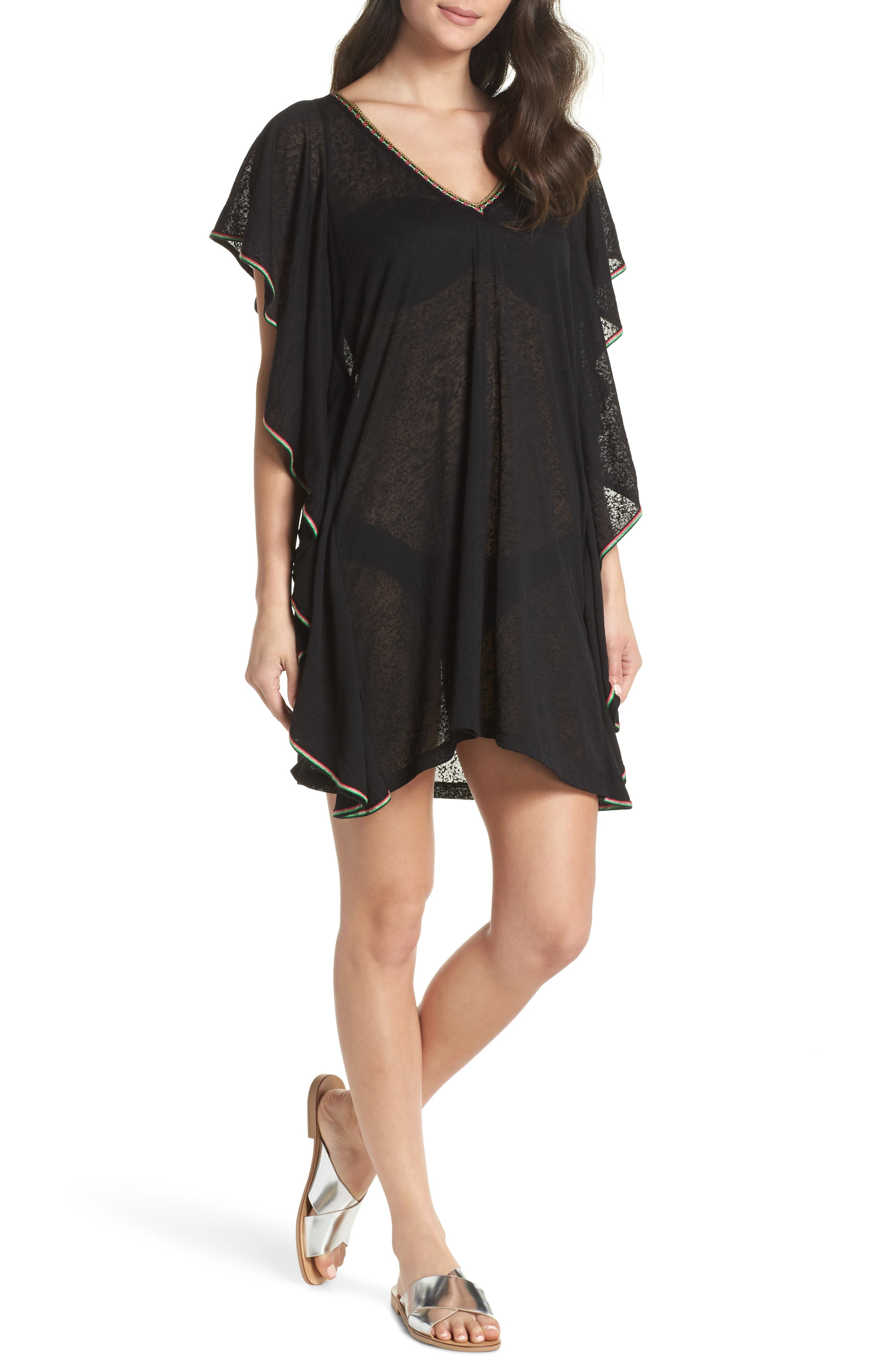 Flare Cover-Up Minidress,                             Main thumbnail 1, color,                             001