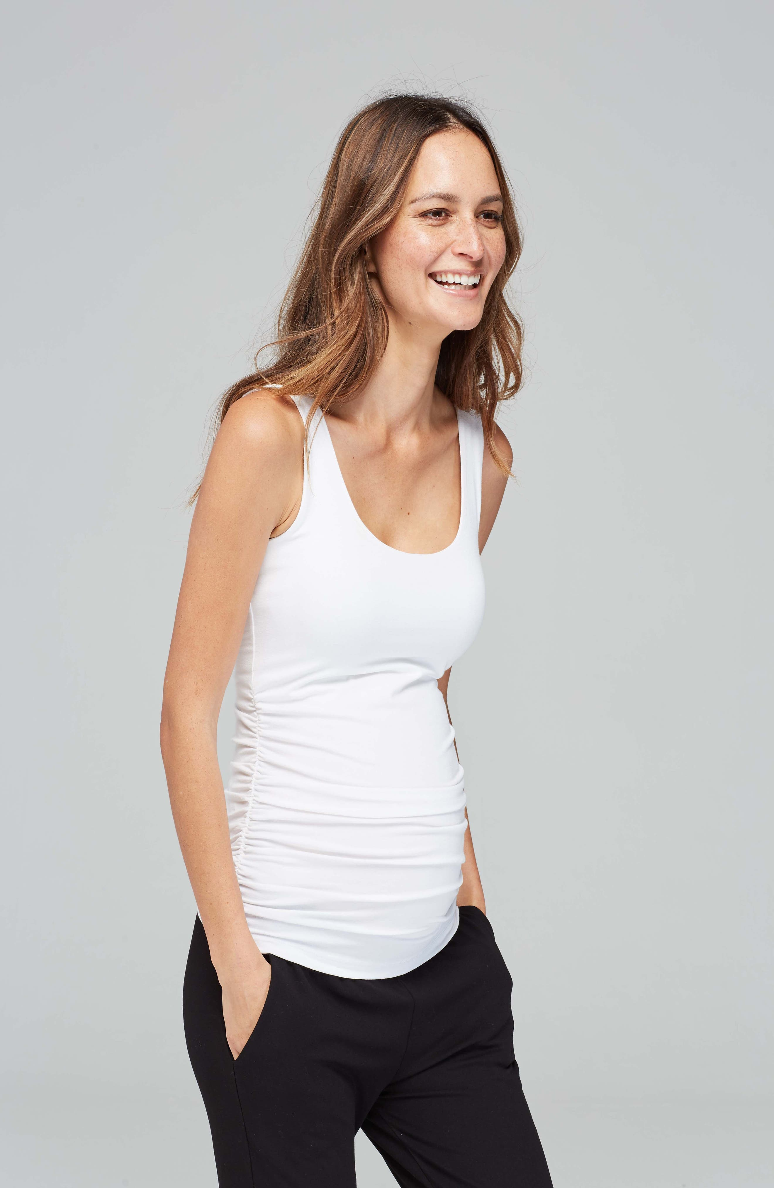 Ruched Maternity Tank,                         Main,                         color, CAVIAR BLACK