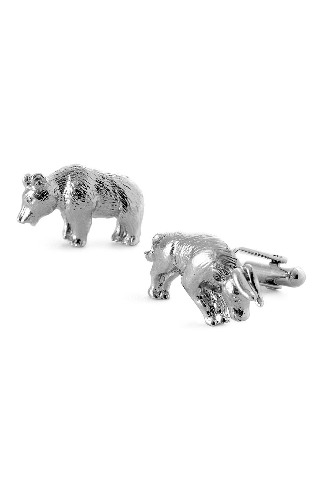 'Bull & Bear' Cuff Links,                         Main,                         color, SILVER