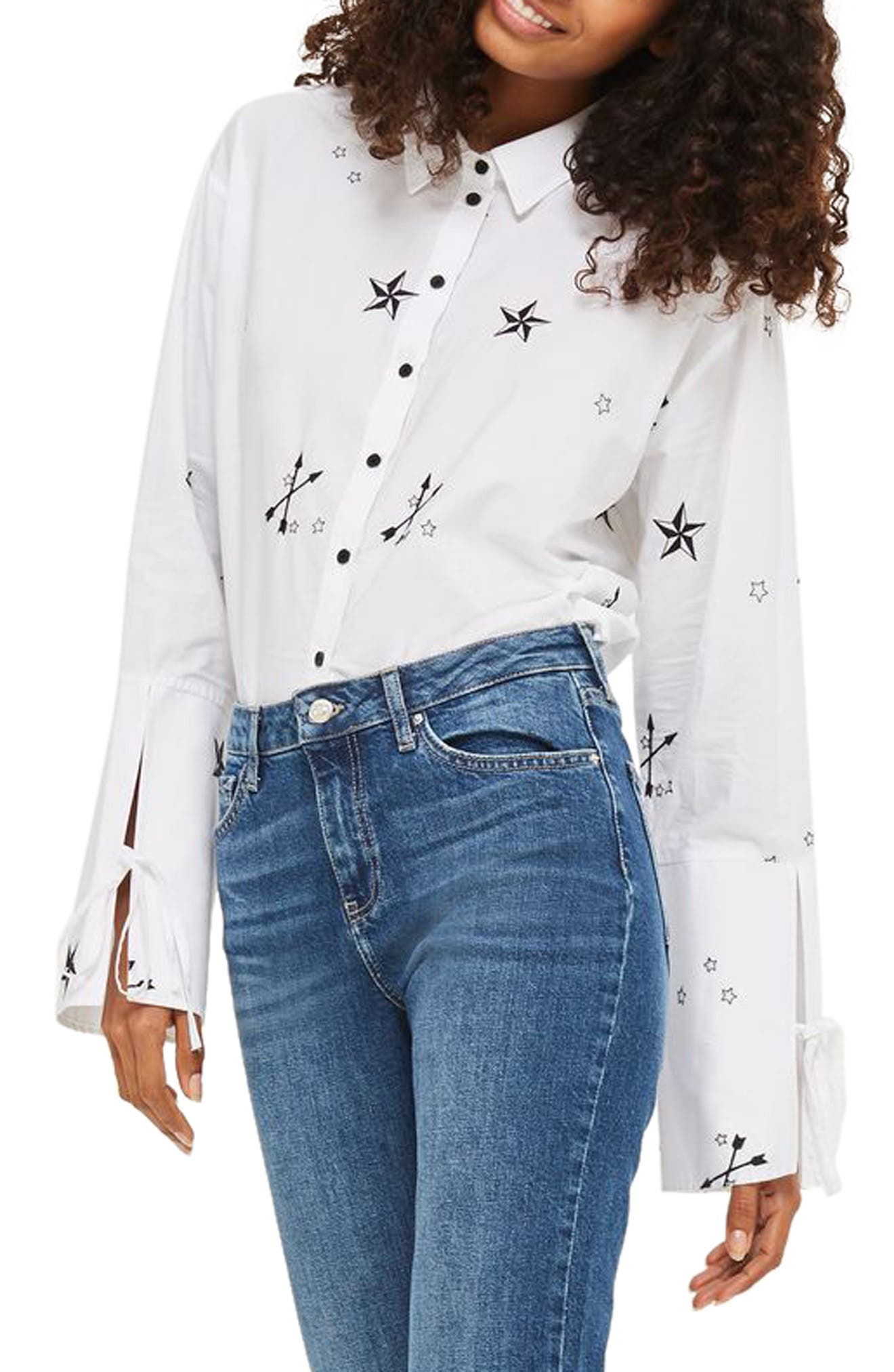 TOPSHOP Star Embroidered Shirt, Main, color, 100