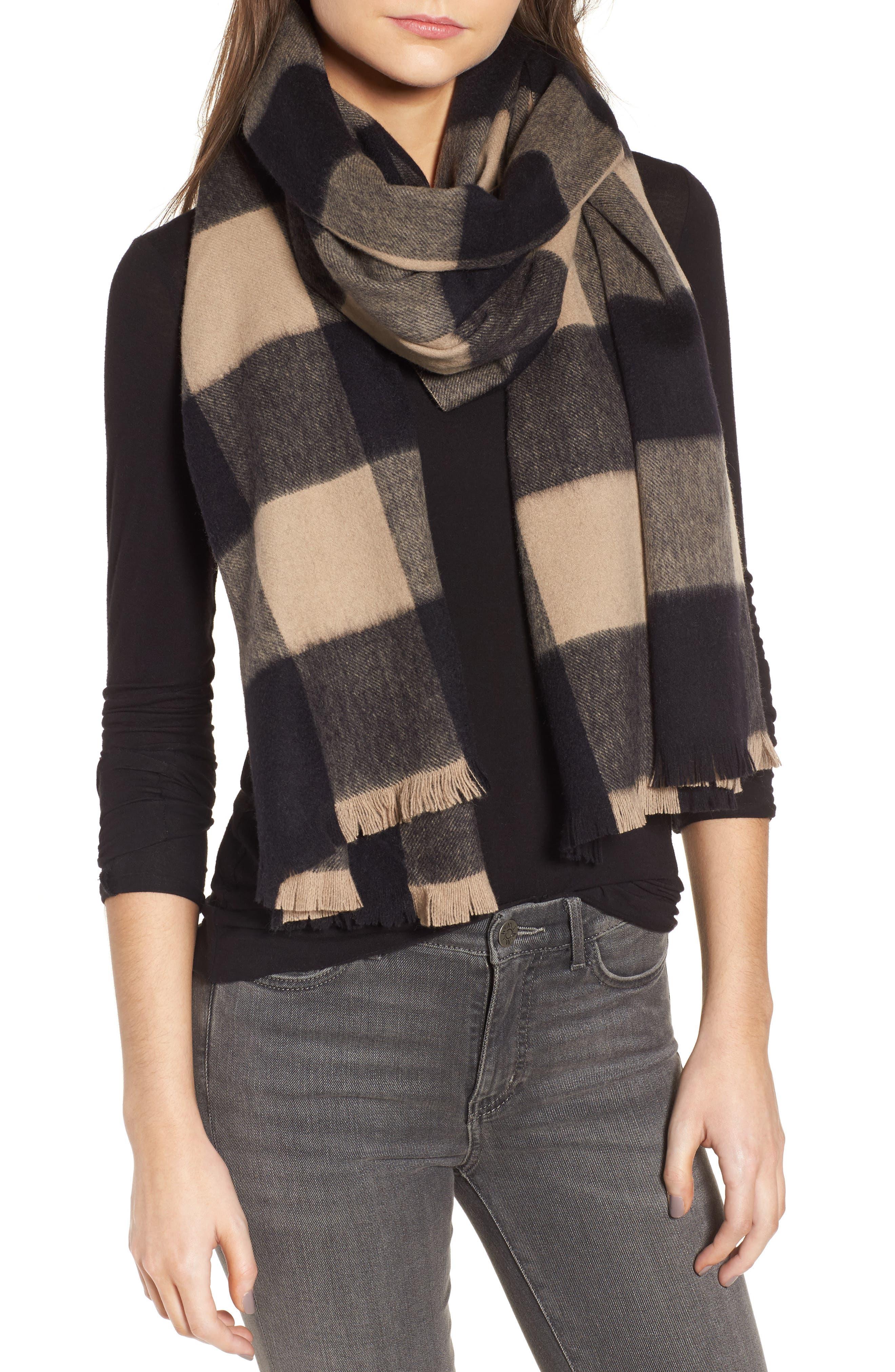 mega check wool scarf,                             Main thumbnail 1, color,
