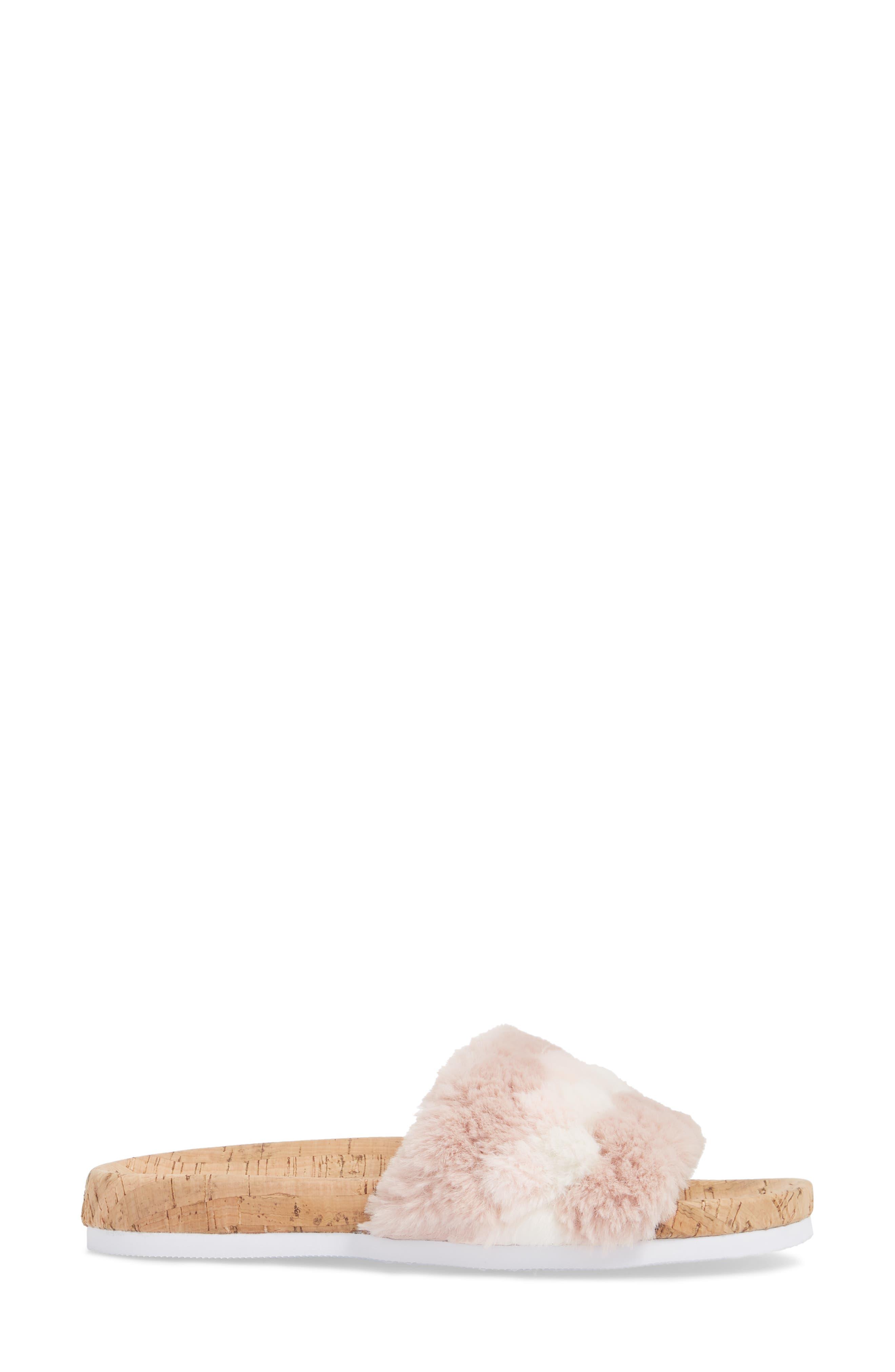 Kate Faux Fur Slide Sandal,                             Alternate thumbnail 3, color,                             650