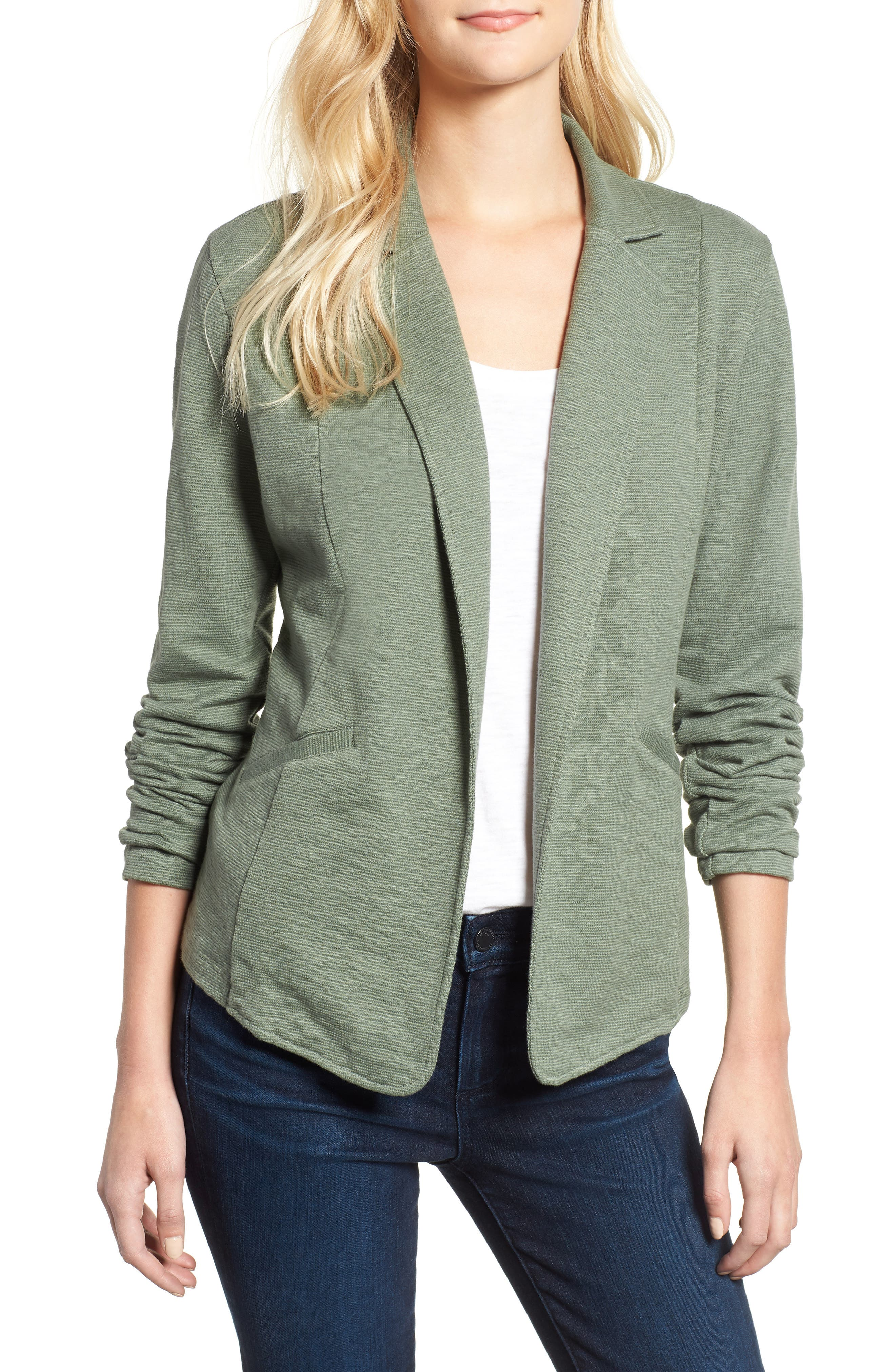 Knit Blazer,                         Main,                         color, GREEN WREATH
