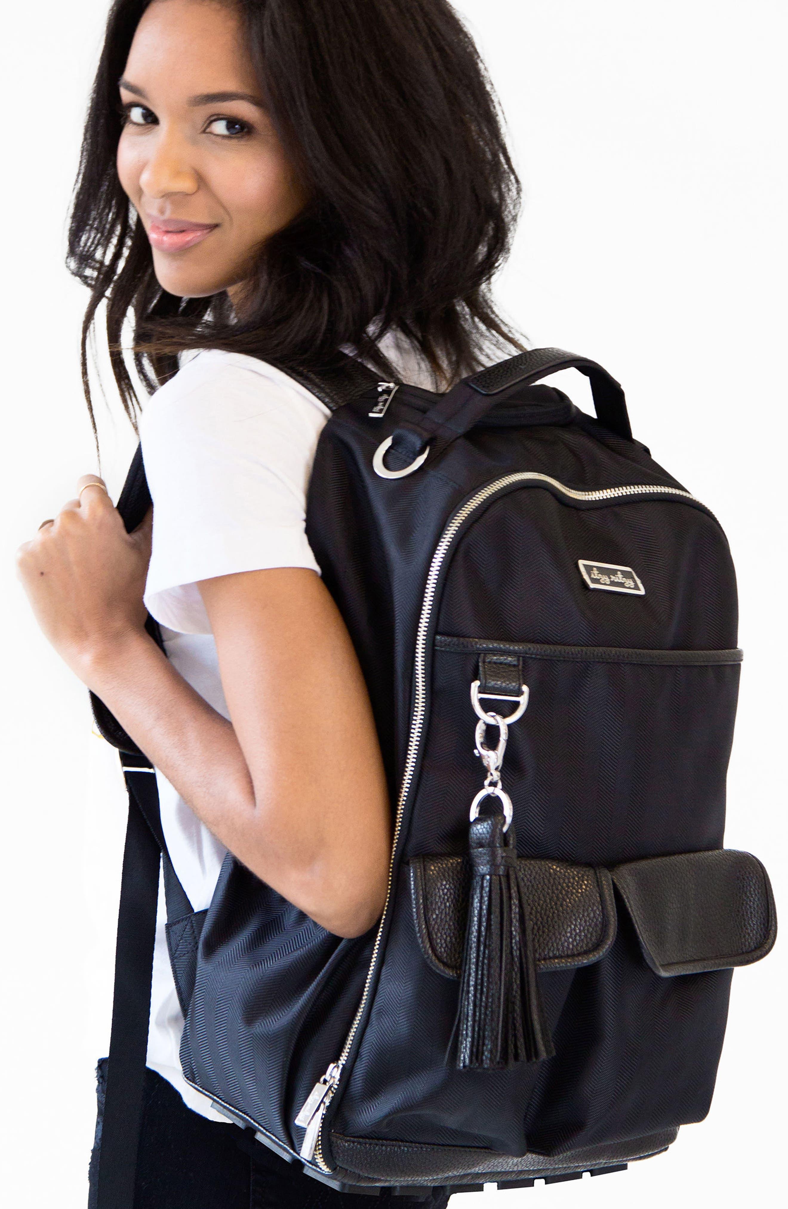 Diaper Bag Backpack,                             Alternate thumbnail 6, color,                             BLACK HERRINGBONE