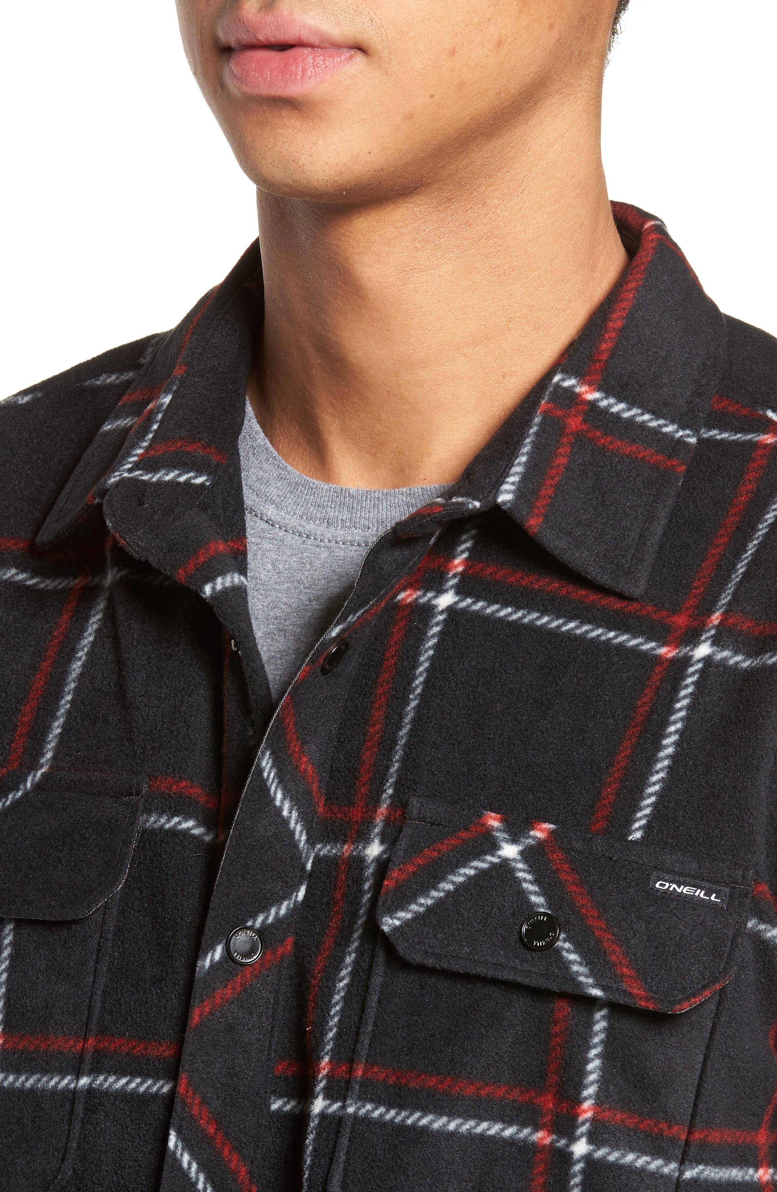 Glacier Series Fleece Shirt,                             Alternate thumbnail 4, color,                             001