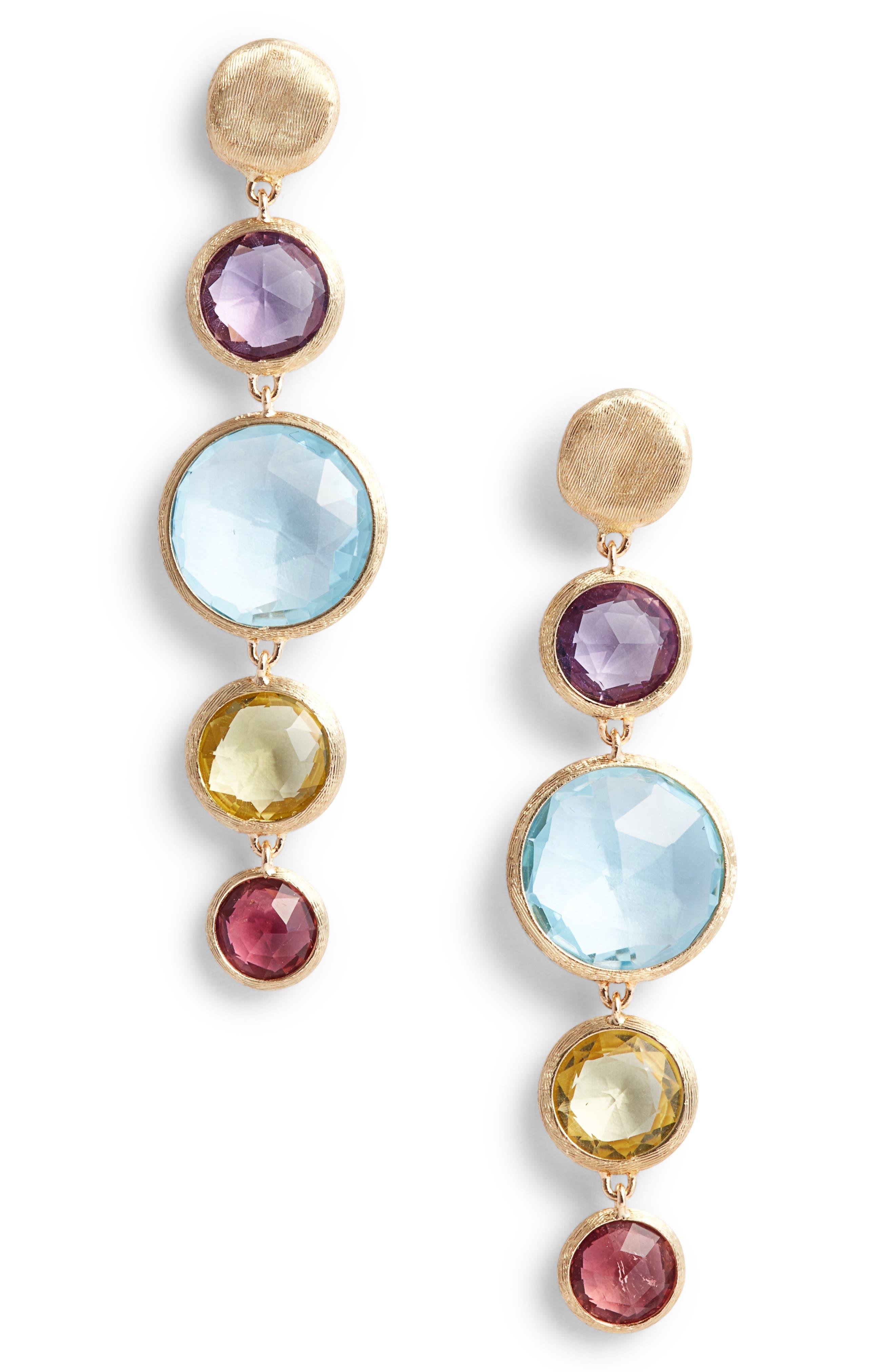 Jaipur Semiprecious Stone Drop Earrings,                         Main,                         color, YELLOW GOLD