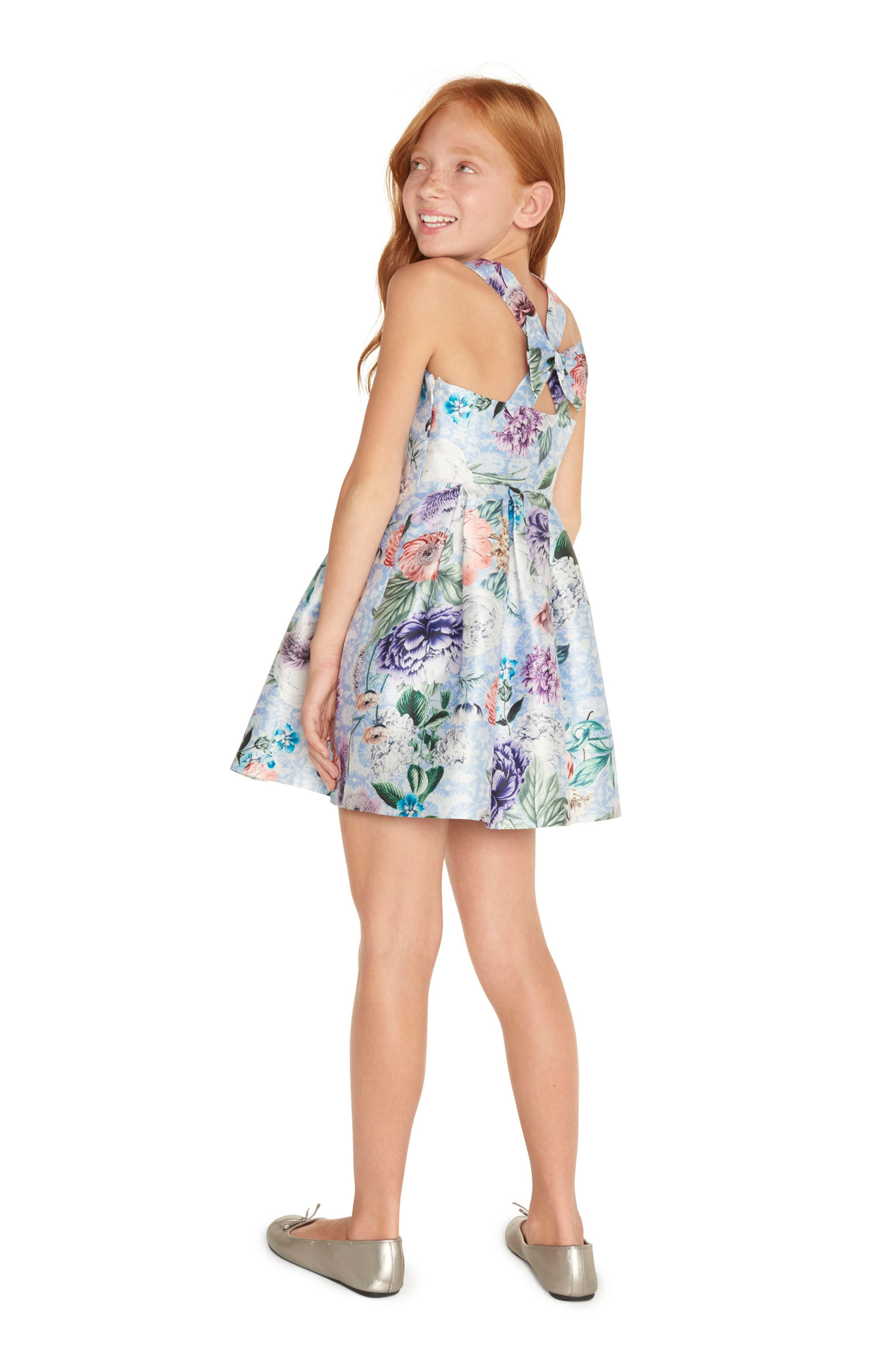 Floral Cross Back Dress,                             Alternate thumbnail 4, color,                             400