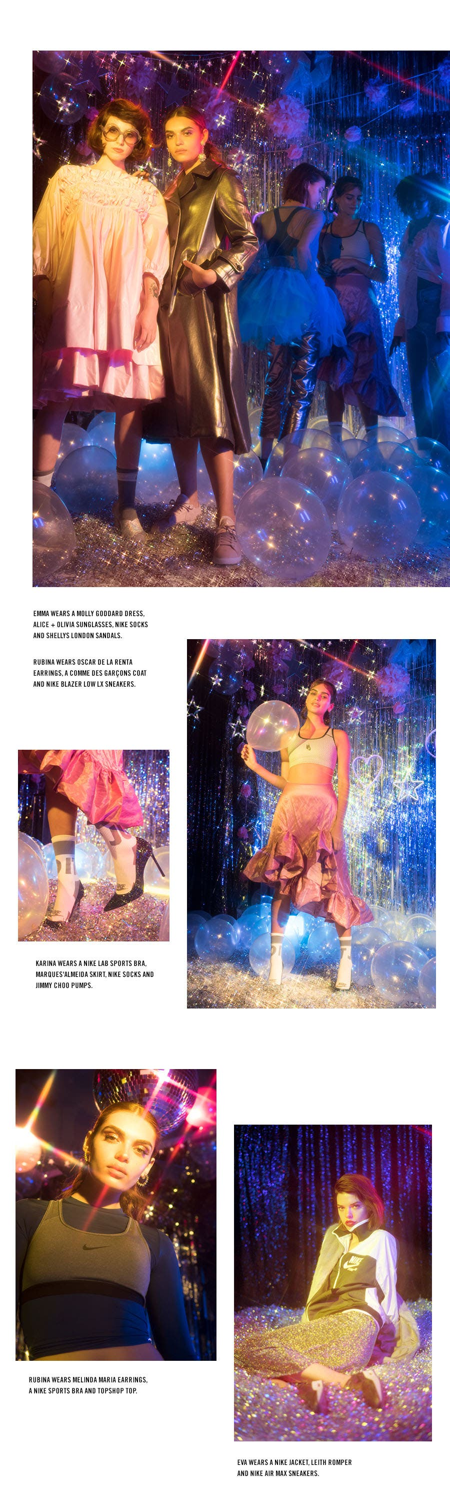 Nordstrom x Nike: night magic holiday dressing editorial.