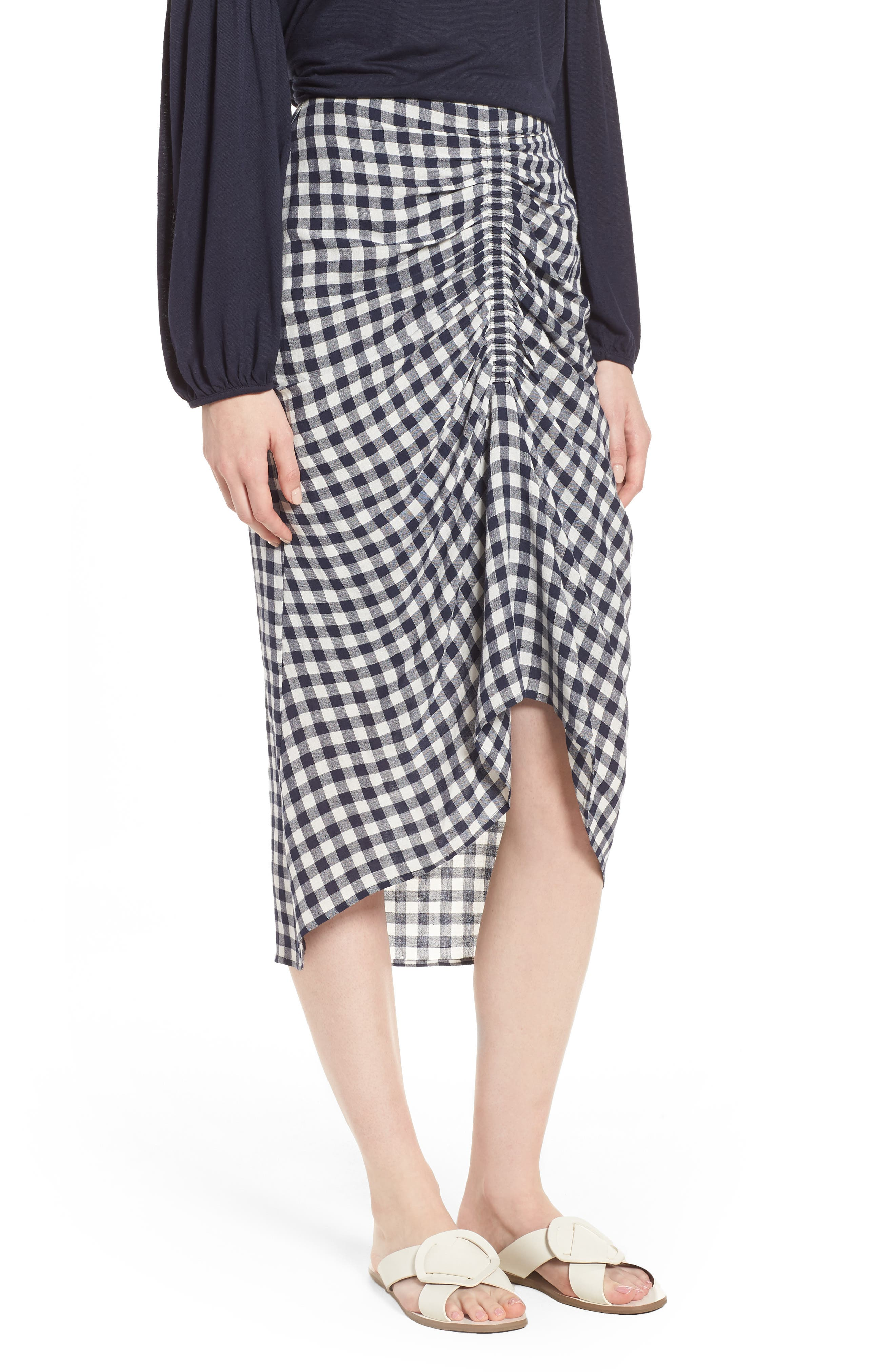 Ruched Front Gingham Skirt,                         Main,                         color, NAVY NIGHT- WHITE CHECK