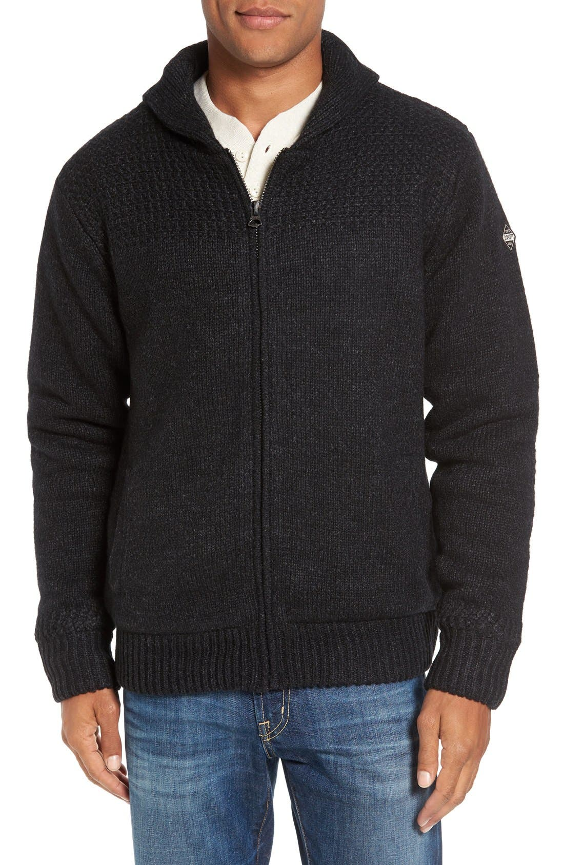Lined Wool Zip Sweater,                         Main,                         color, BLACK