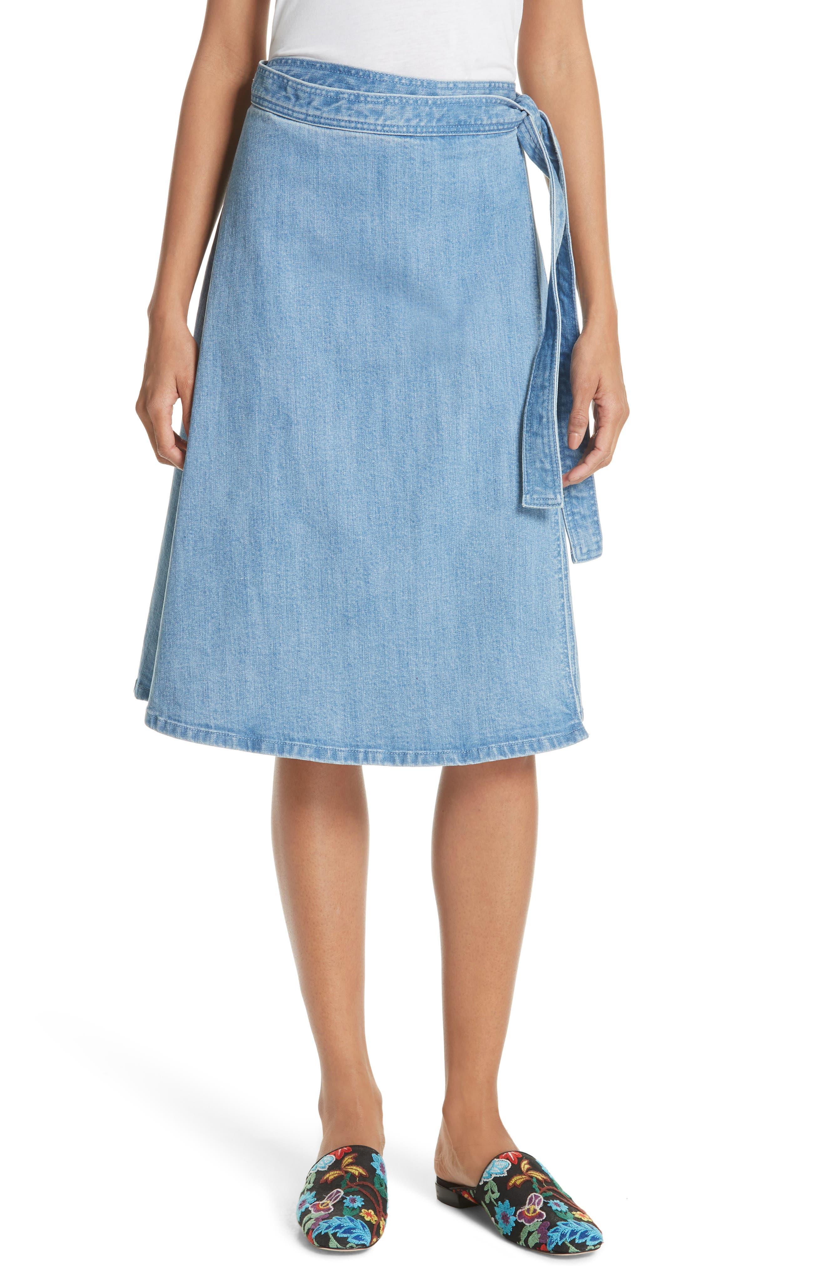 vintage stretch denim wrap skirt,                             Main thumbnail 1, color,                             429