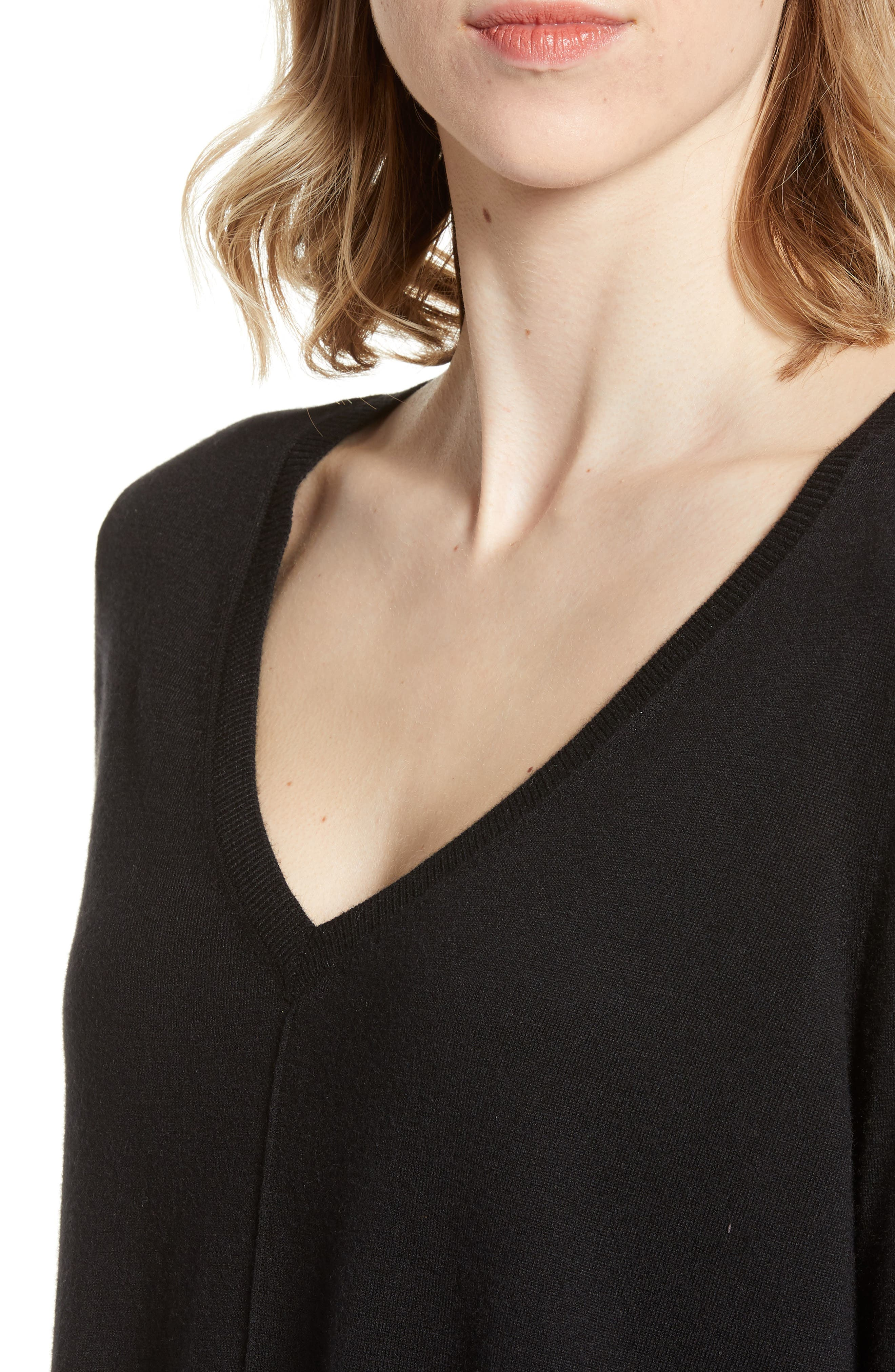 High-Low V-neck Sweater,                             Alternate thumbnail 5, color,                             001