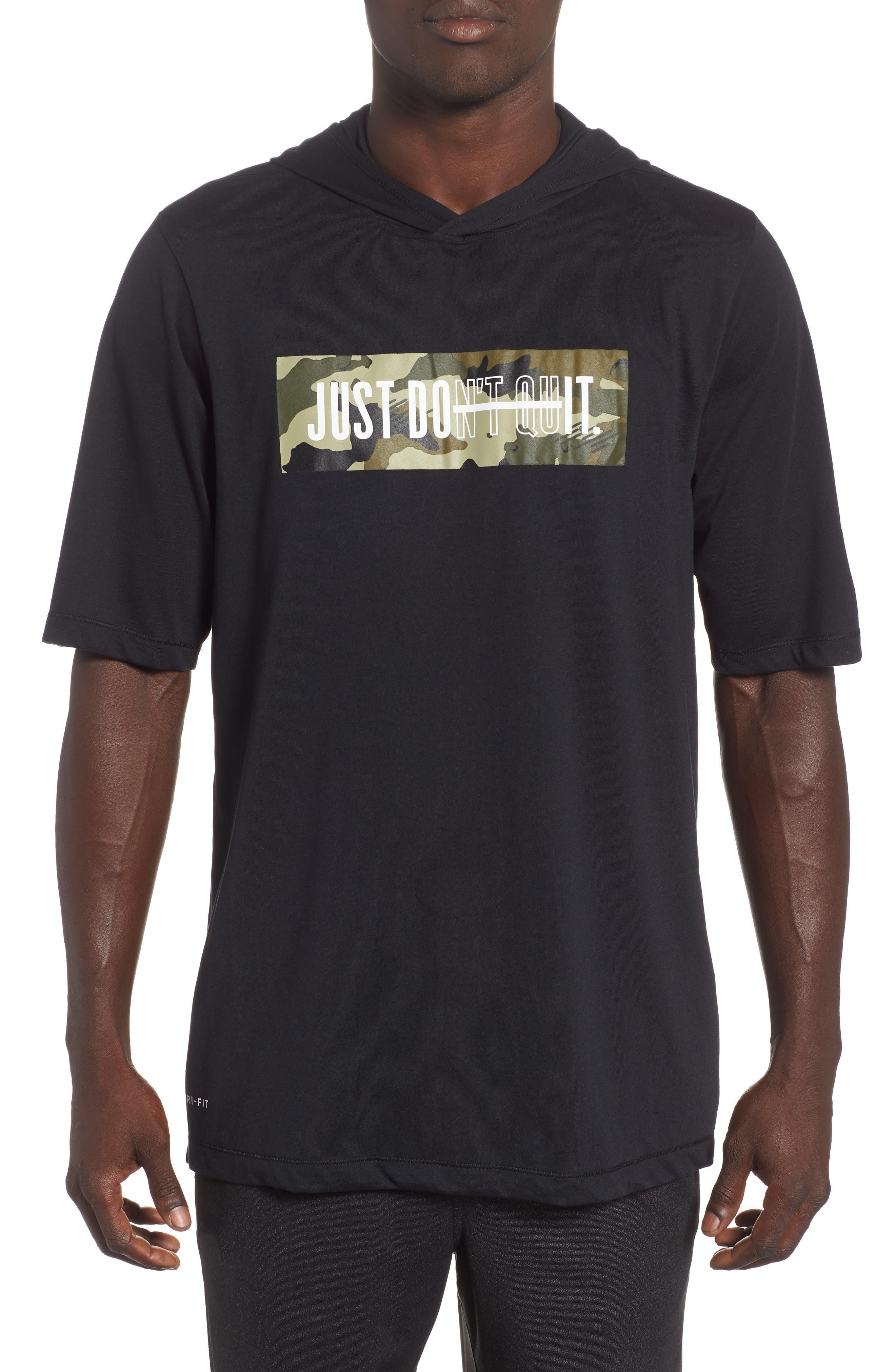 Nike Dry Hooded T-Shirt, Black