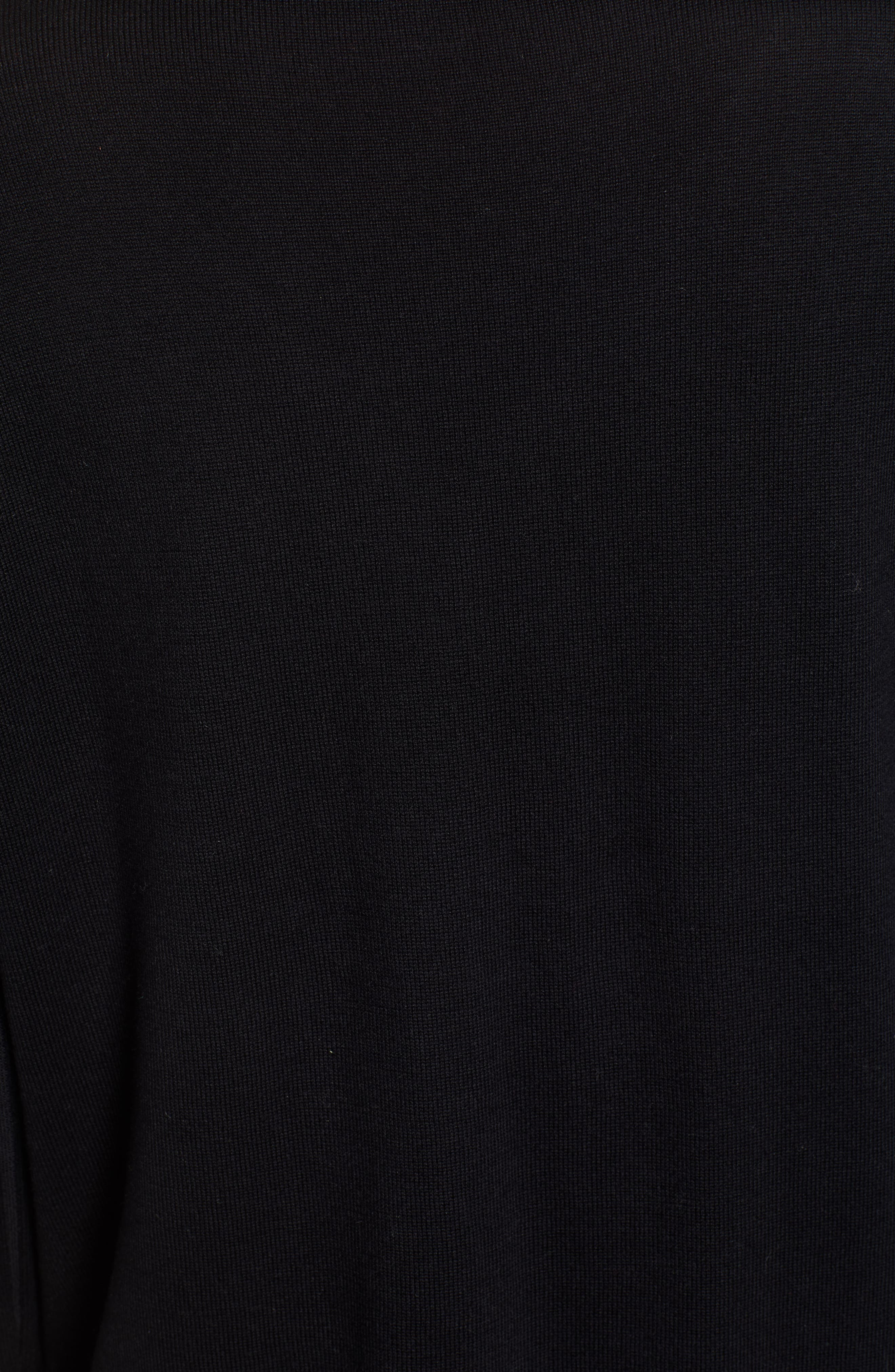 V-Neck Ribbed Sweater,                             Alternate thumbnail 5, color,                             RICH BLACK