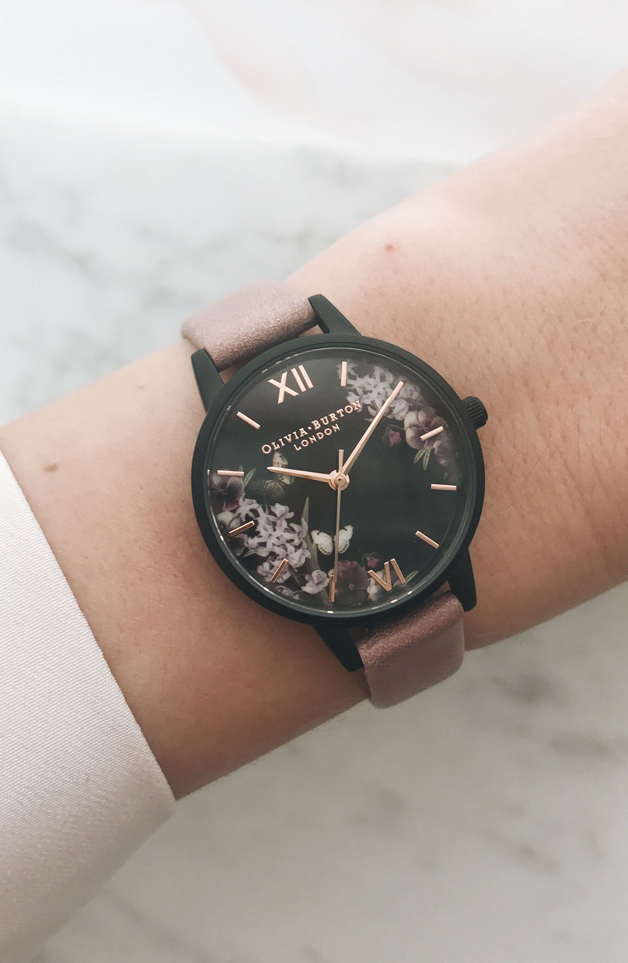 After Dark Leather Strap Watch, 30mm,                             Alternate thumbnail 5, color,                             DUSTY ROSE/ FLORAL/ BLACK
