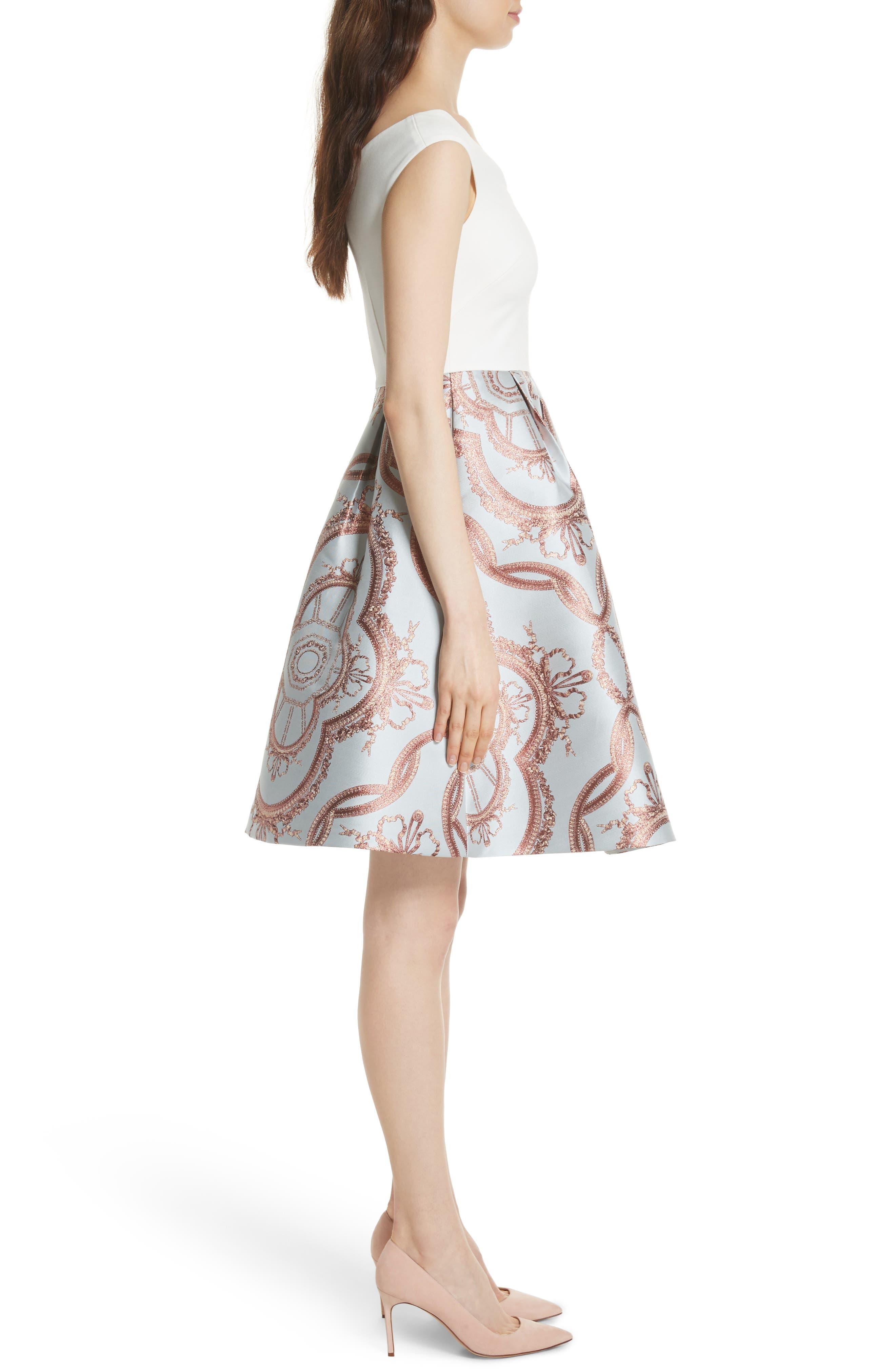 Versailles Fit & Flare Dress,                             Alternate thumbnail 3, color,