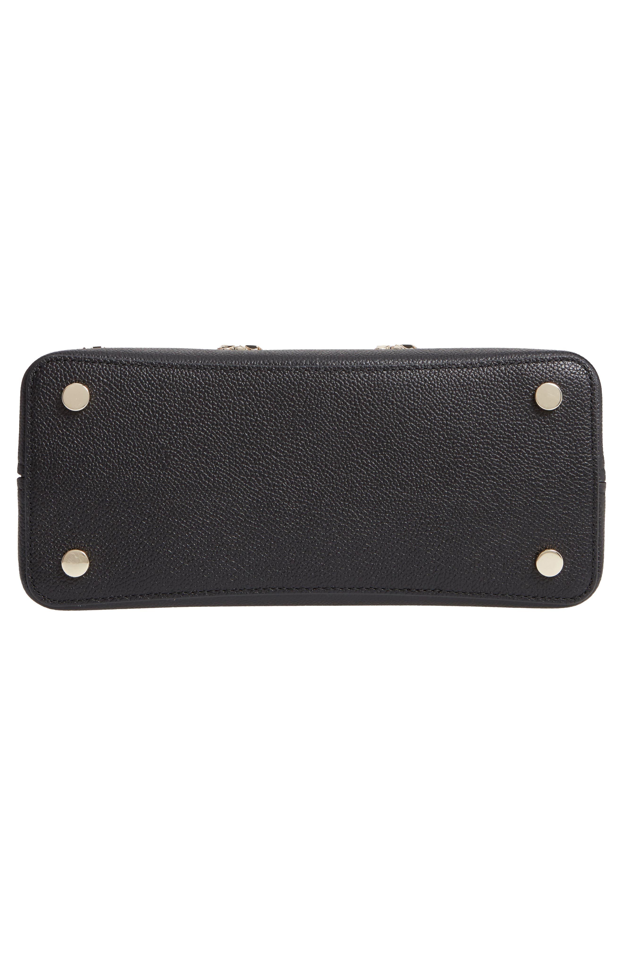 medium margaux embellished leather satchel,                             Alternate thumbnail 6, color,                             BLACK