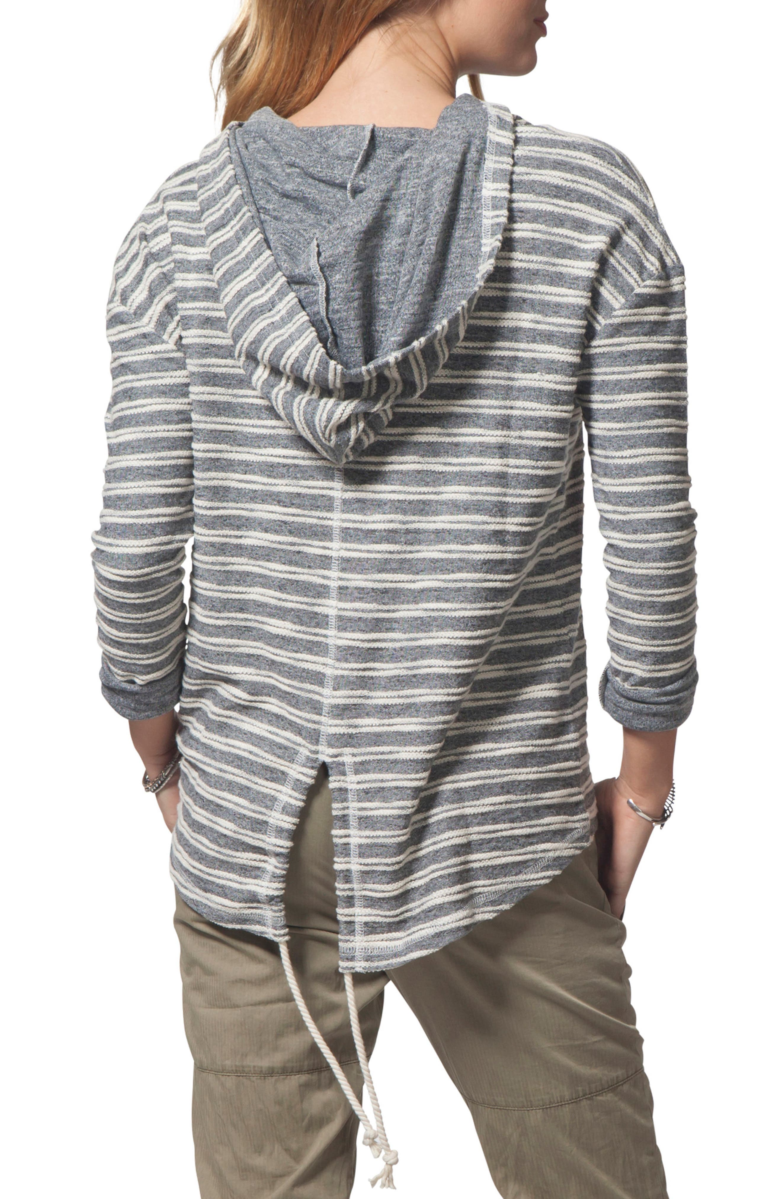 Next Move Stripe Hooded Pullover,                             Alternate thumbnail 2, color,                             BLACK