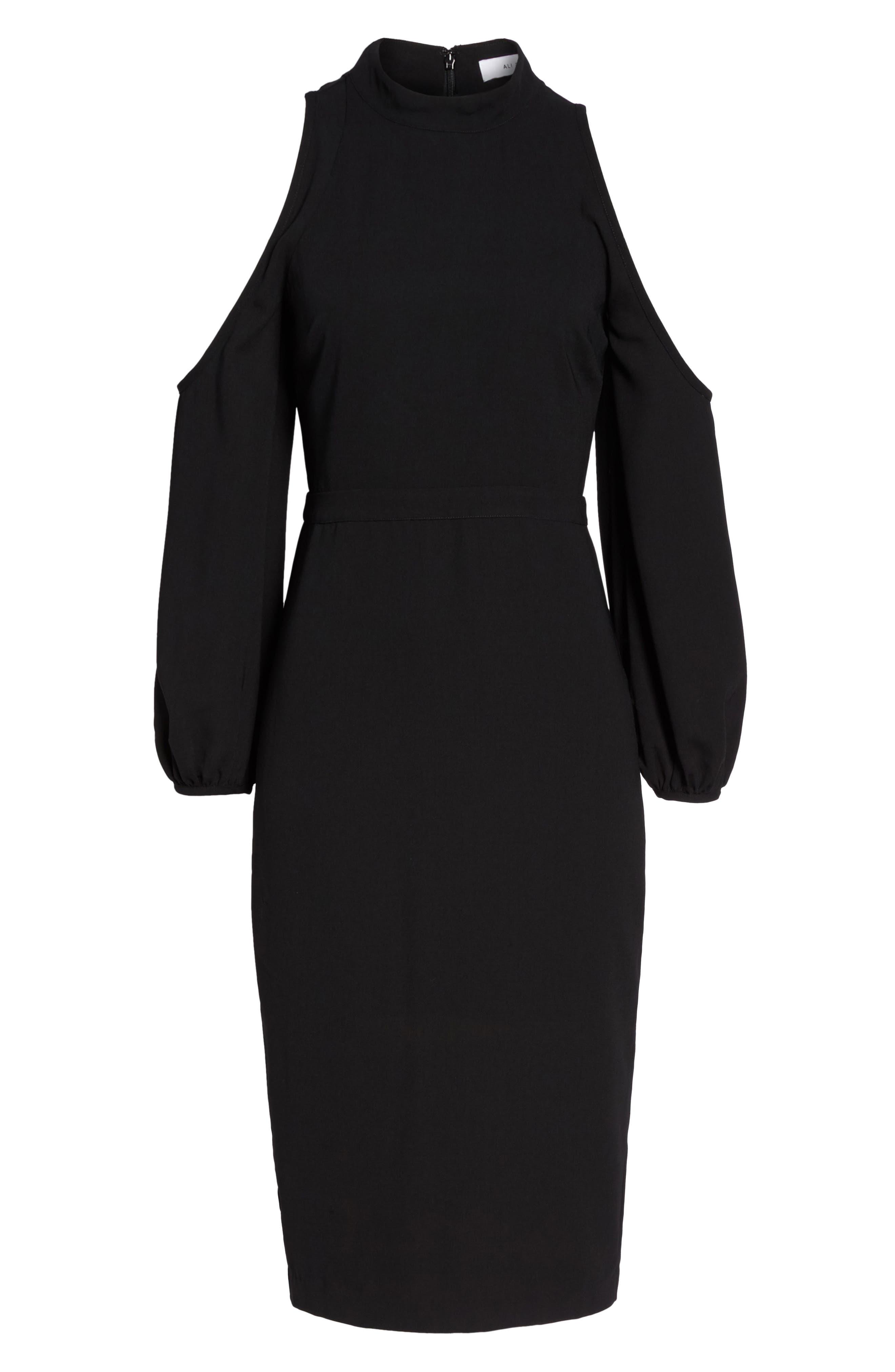 Power Shoulder Sheath Dress,                             Alternate thumbnail 6, color,                             001