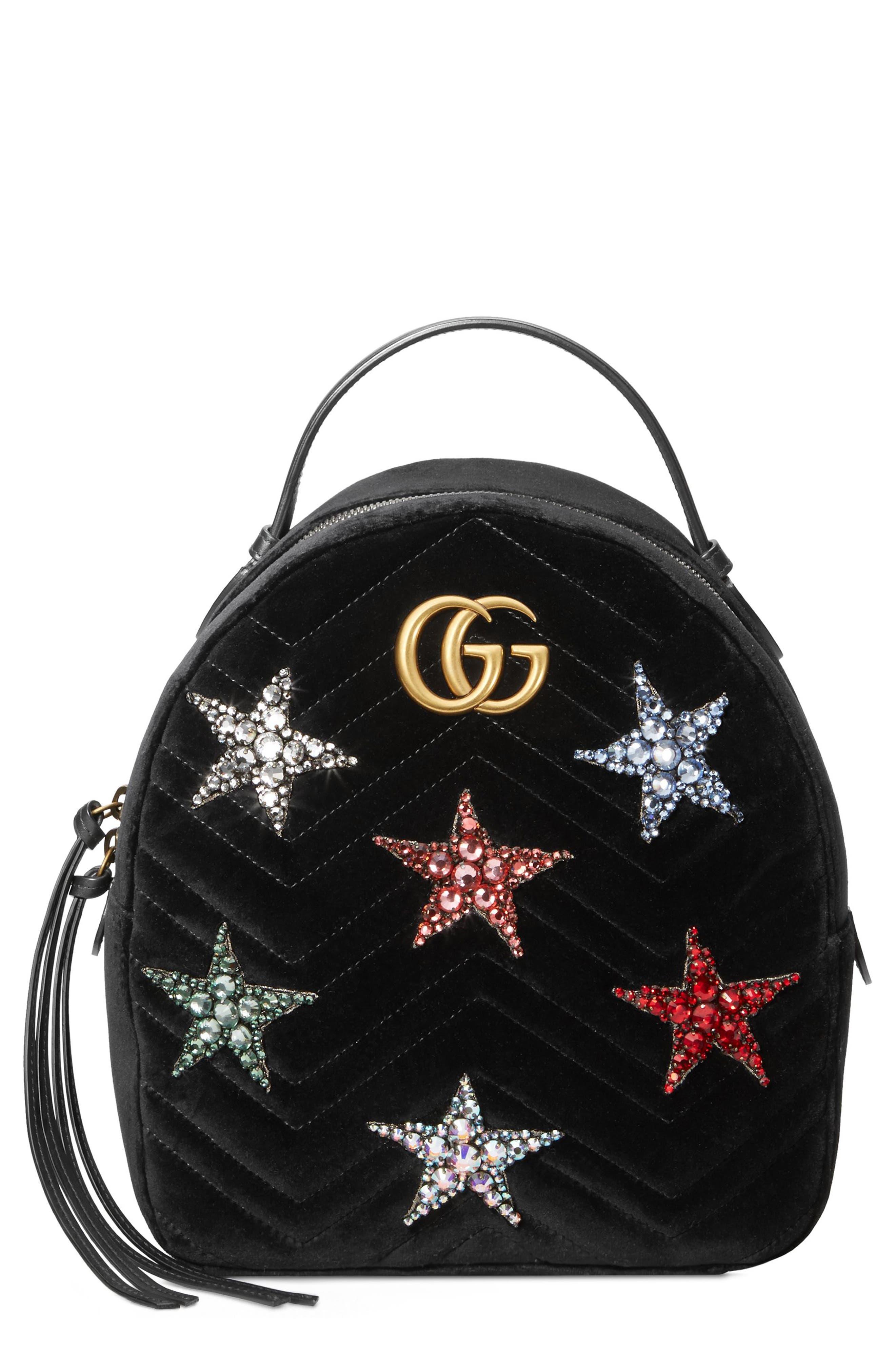 Marmont 2.0 Crystal Stars Velvet Backpack,                         Main,                         color, NERO/ NERO MULTI